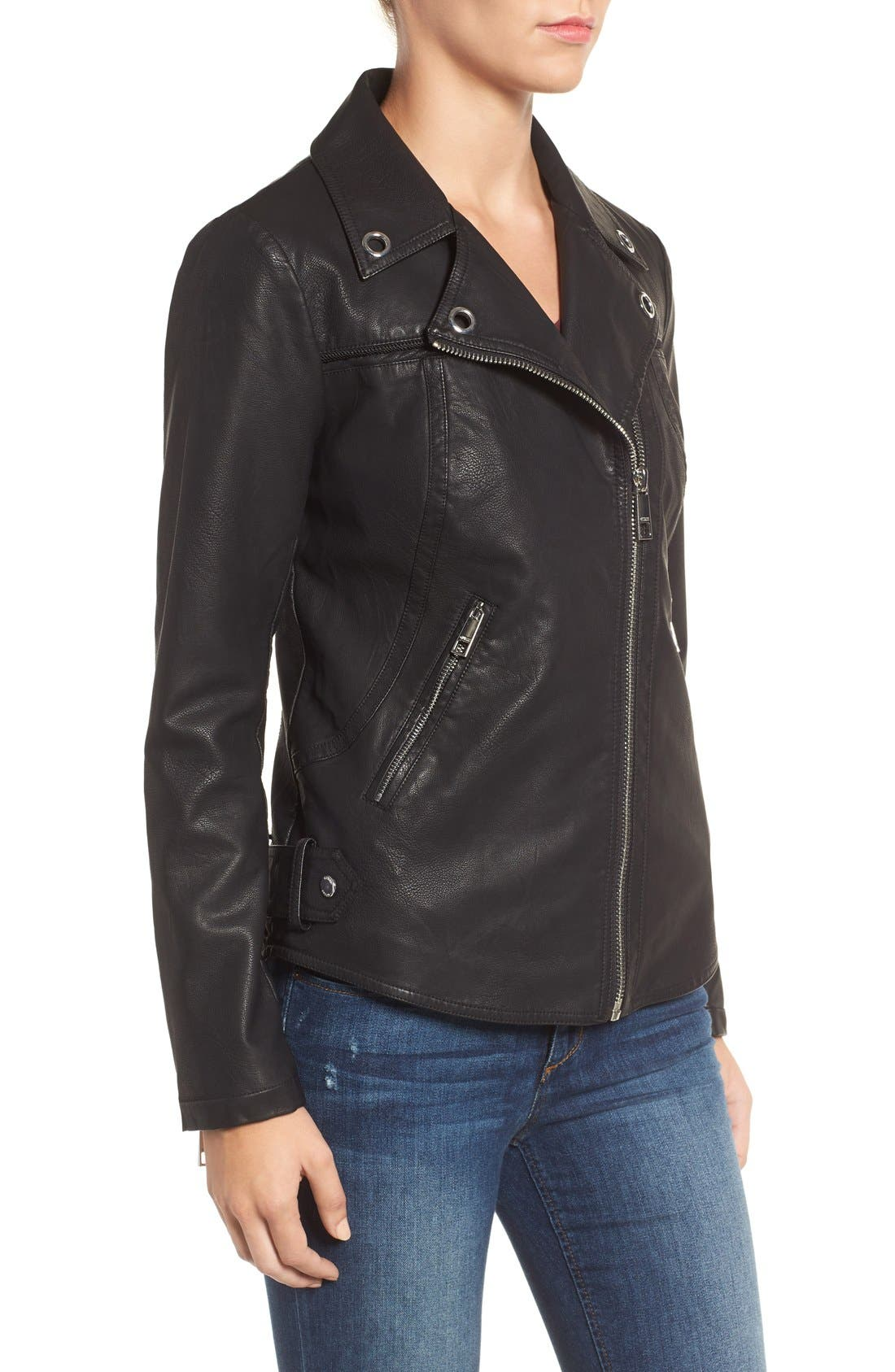 Faux Leather Moto Jacket,                             Alternate thumbnail 4, color,                             001