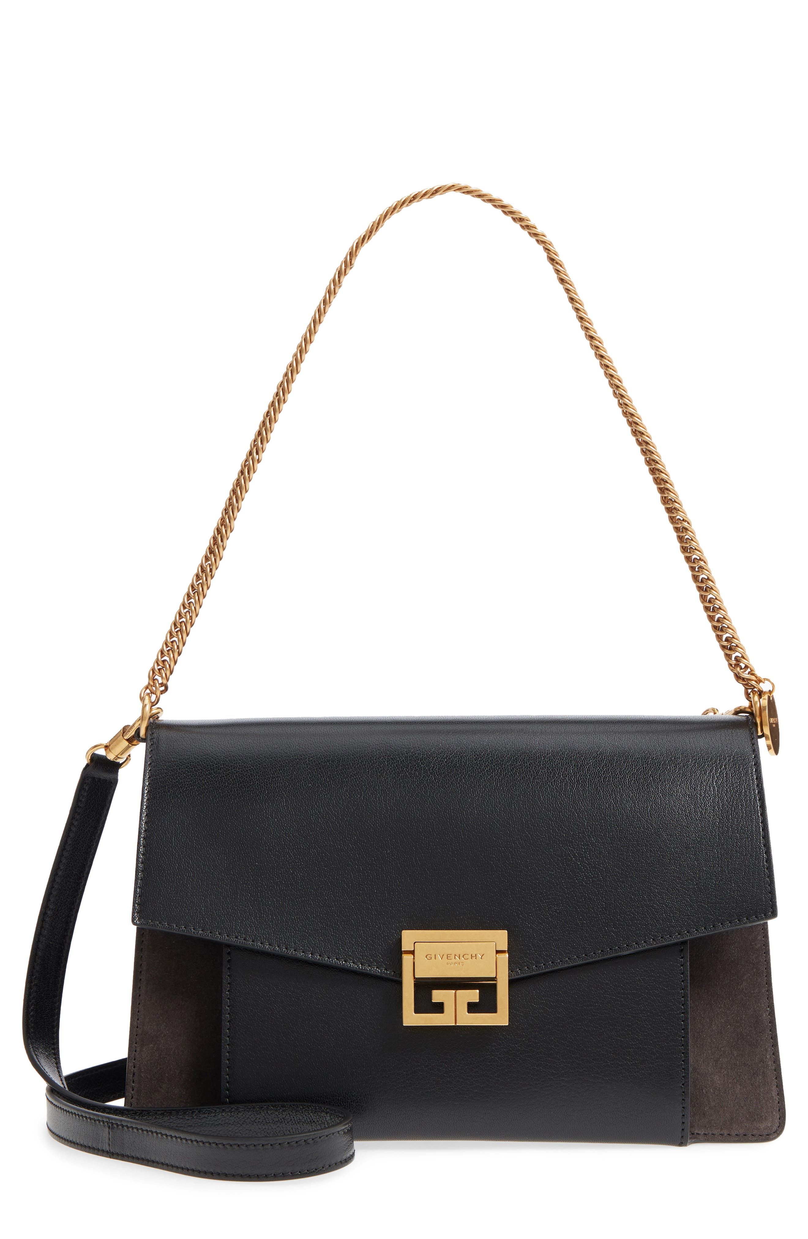 Medium GV3 Leather Crossbody Bag, Main, color, BLACK/ GREY