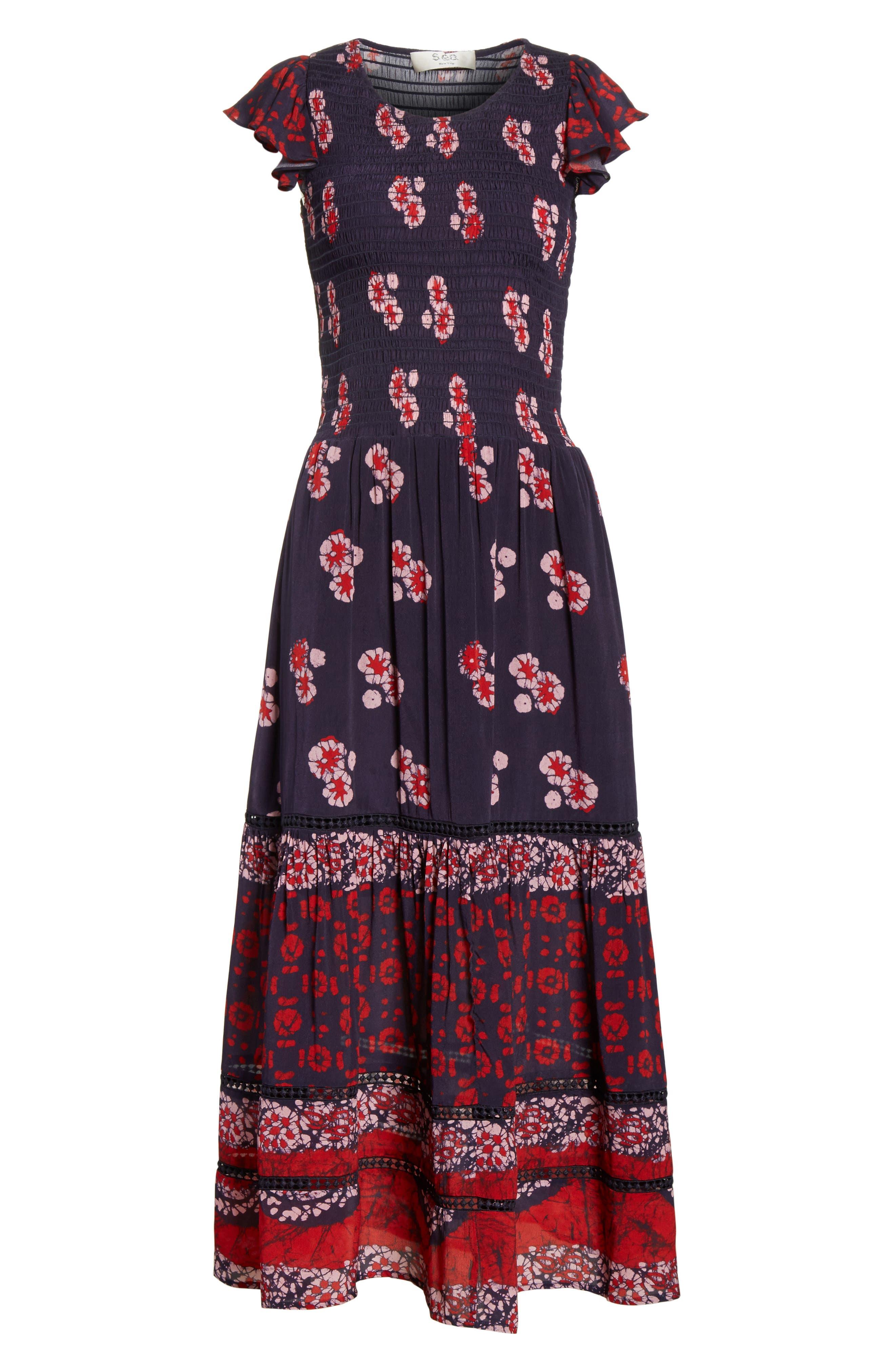 Print Flutter Sleeve Midi Dress,                             Alternate thumbnail 6, color,                             600