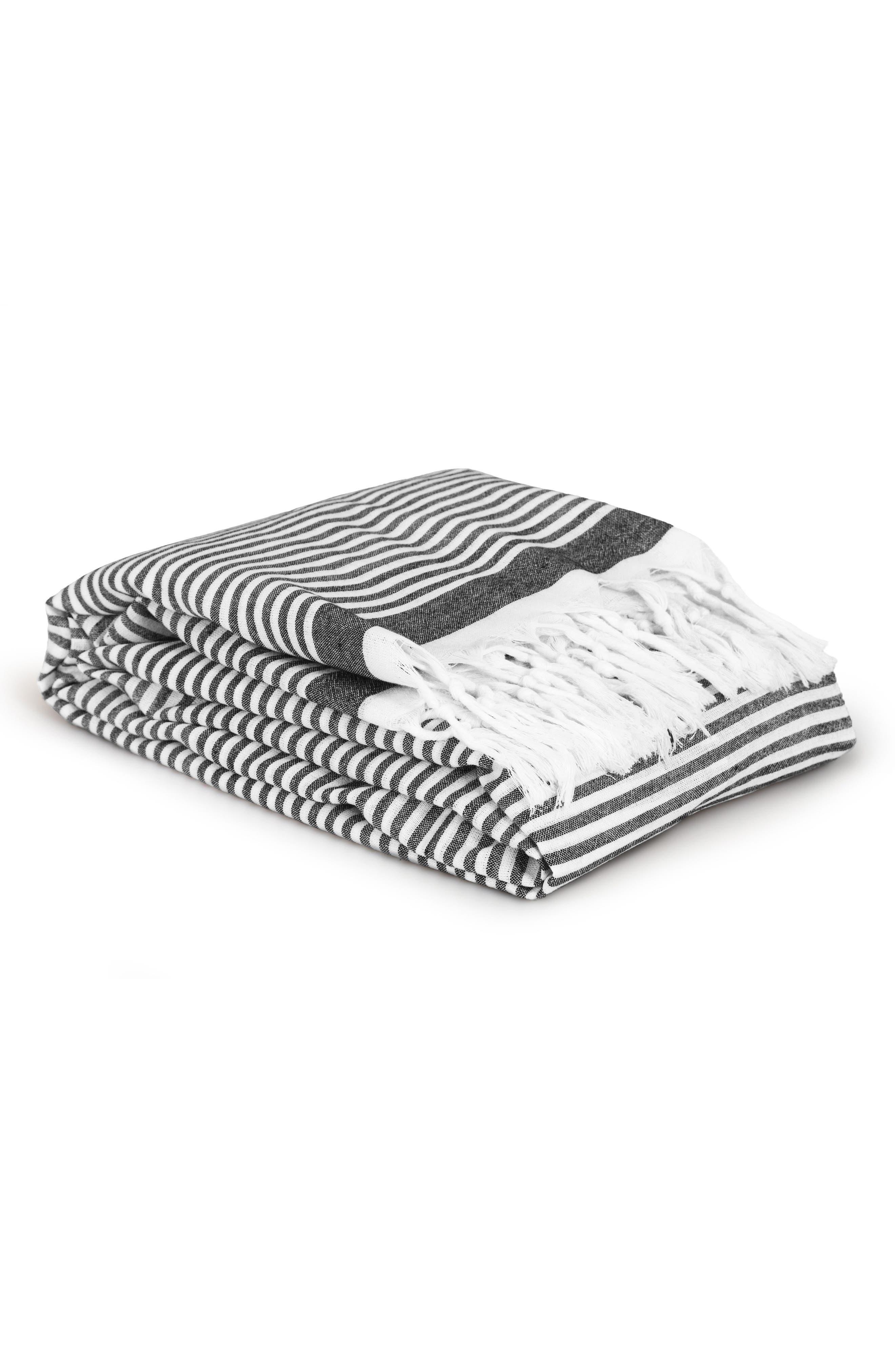 Soft Stripes Turkish Pestemal Towel,                             Alternate thumbnail 4, color,                             BLACK