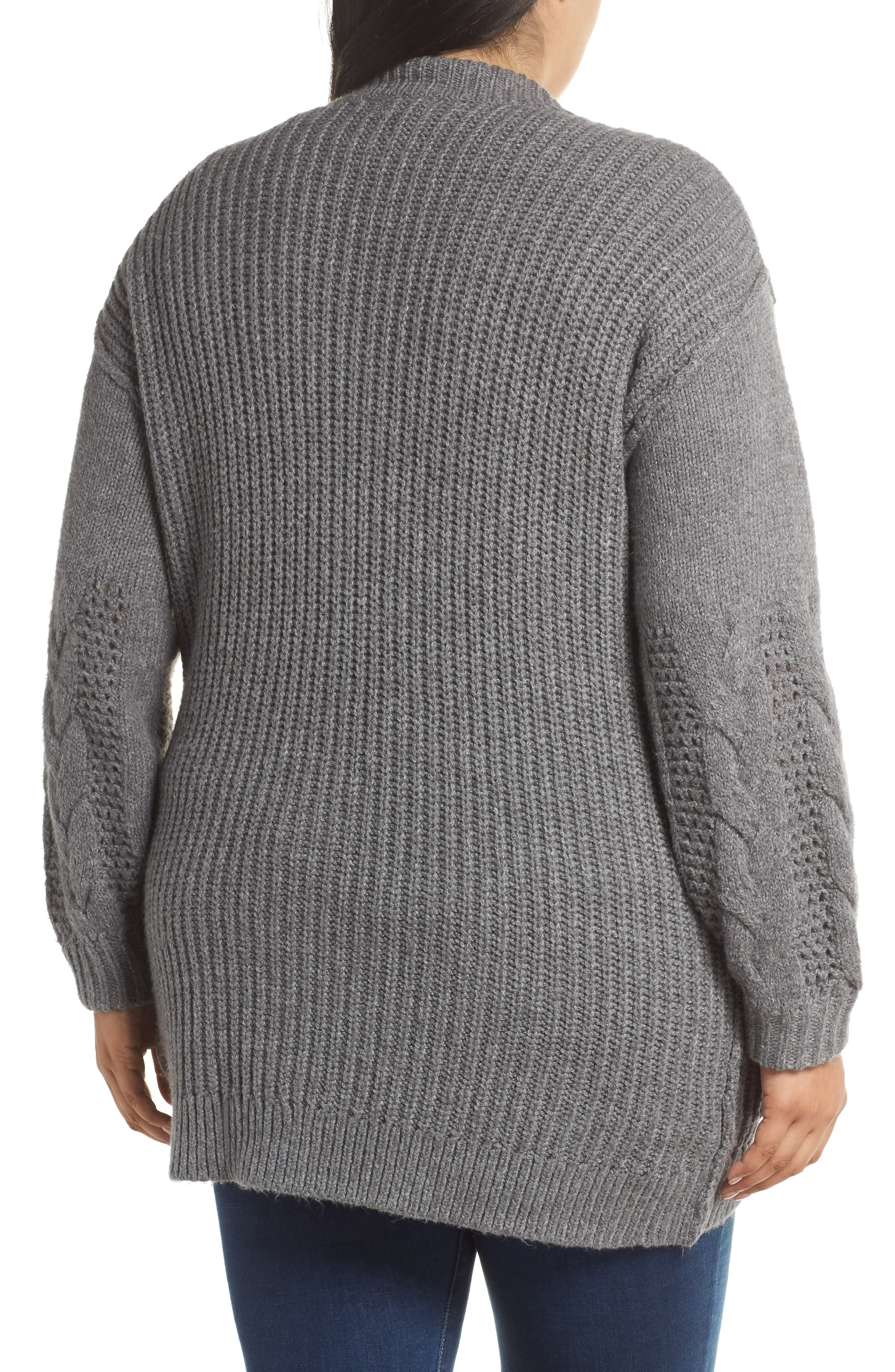 Cable Knit Sleeve Cardigan,                             Alternate thumbnail 2, color,                             GREY DARK HEATHER