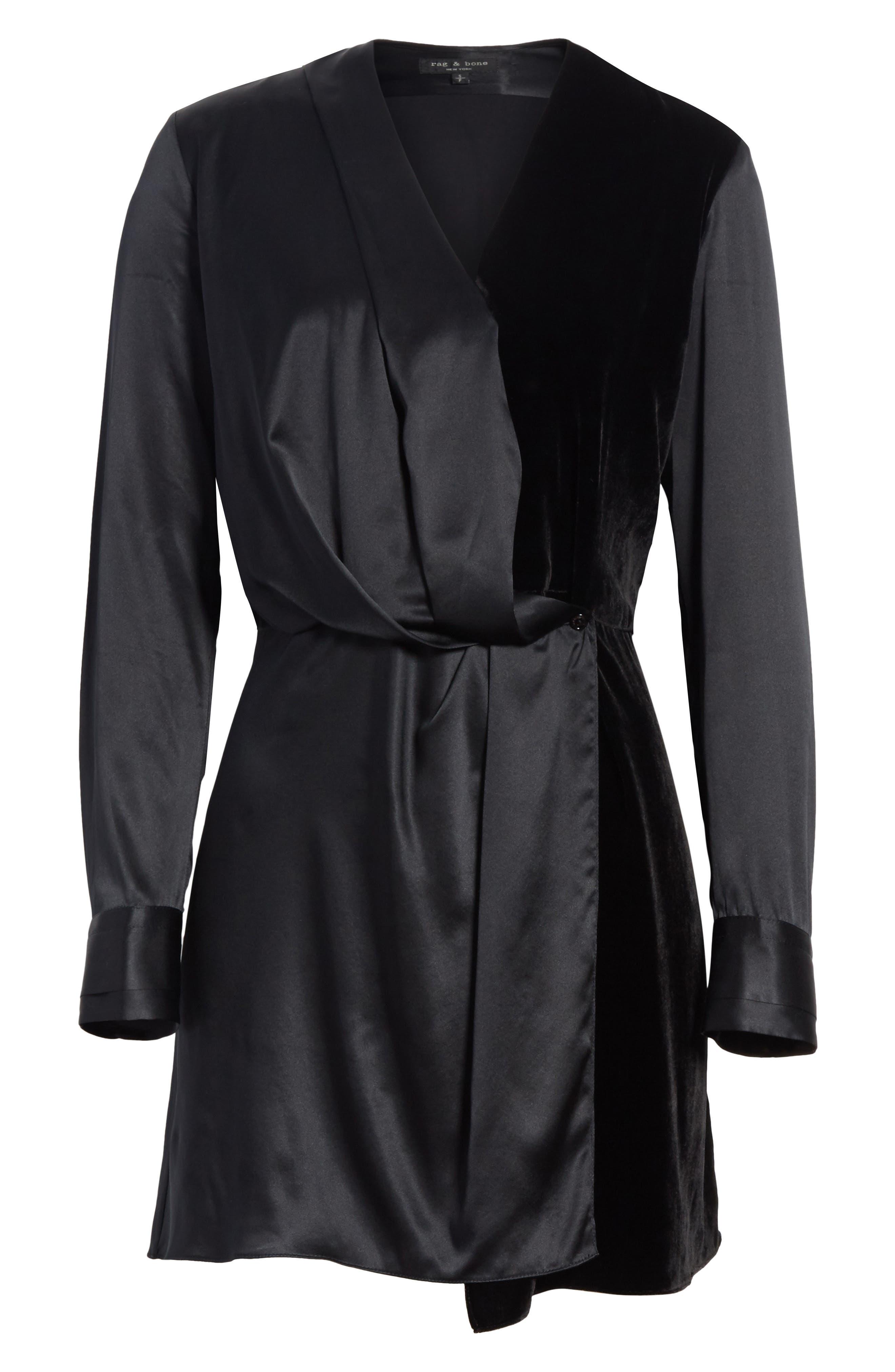 Victor Silk and Velvet Wrap Dress,                             Alternate thumbnail 6, color,