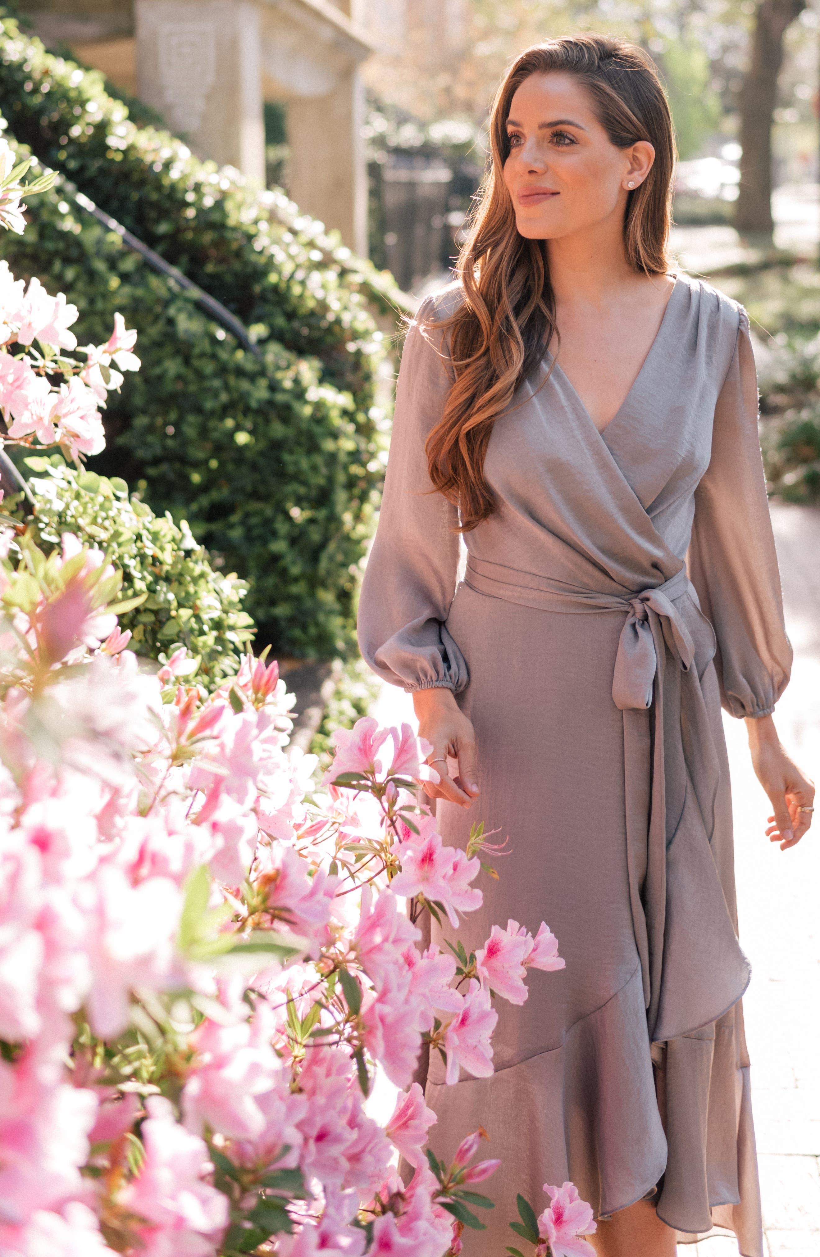 Jennifer Shimmer Satin Wrap Dress,                             Alternate thumbnail 8, color,                             321