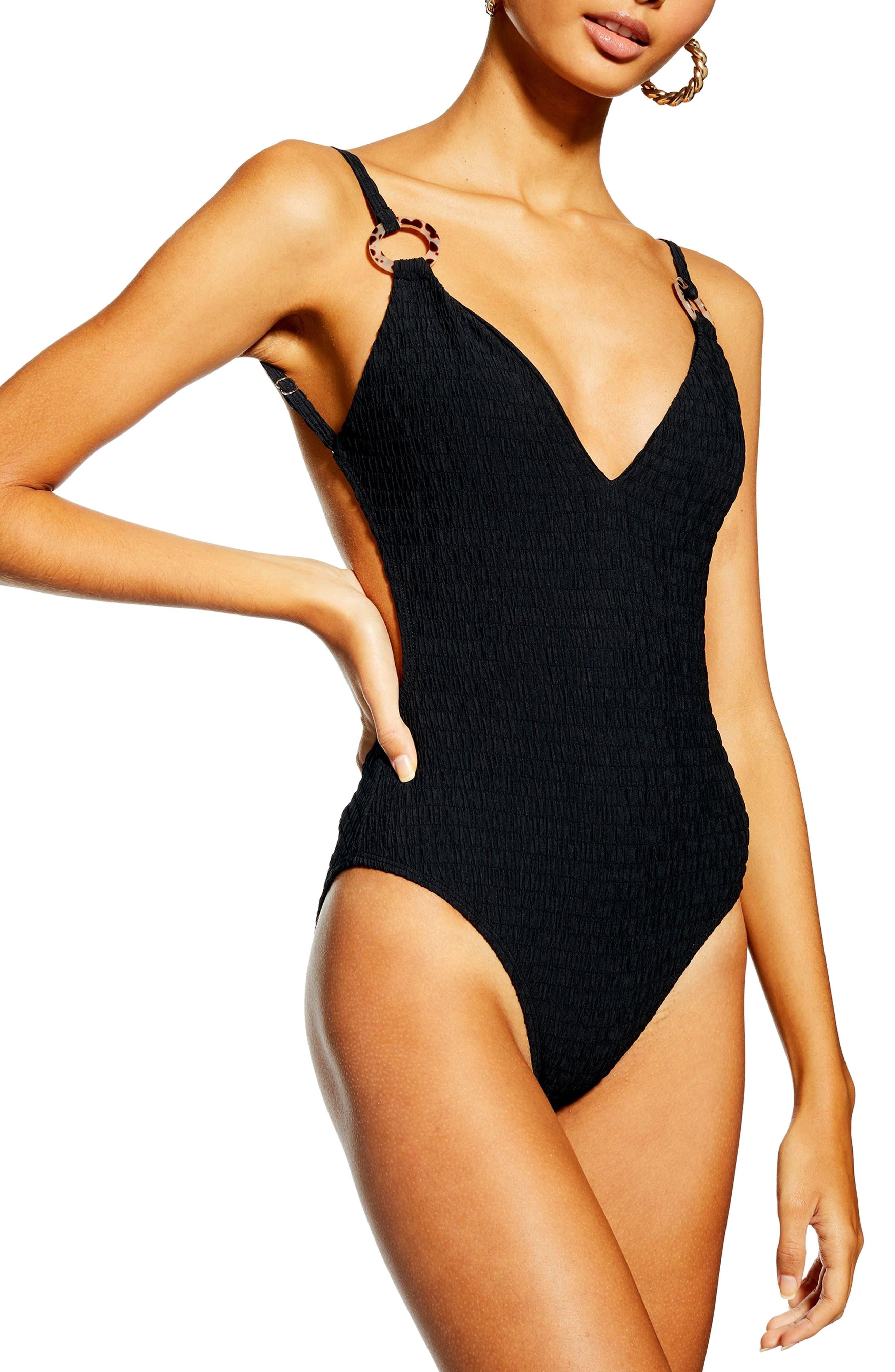 TOPSHOP,                             Plunge One-Piece Swimsuit,                             Main thumbnail 1, color,                             BLACK