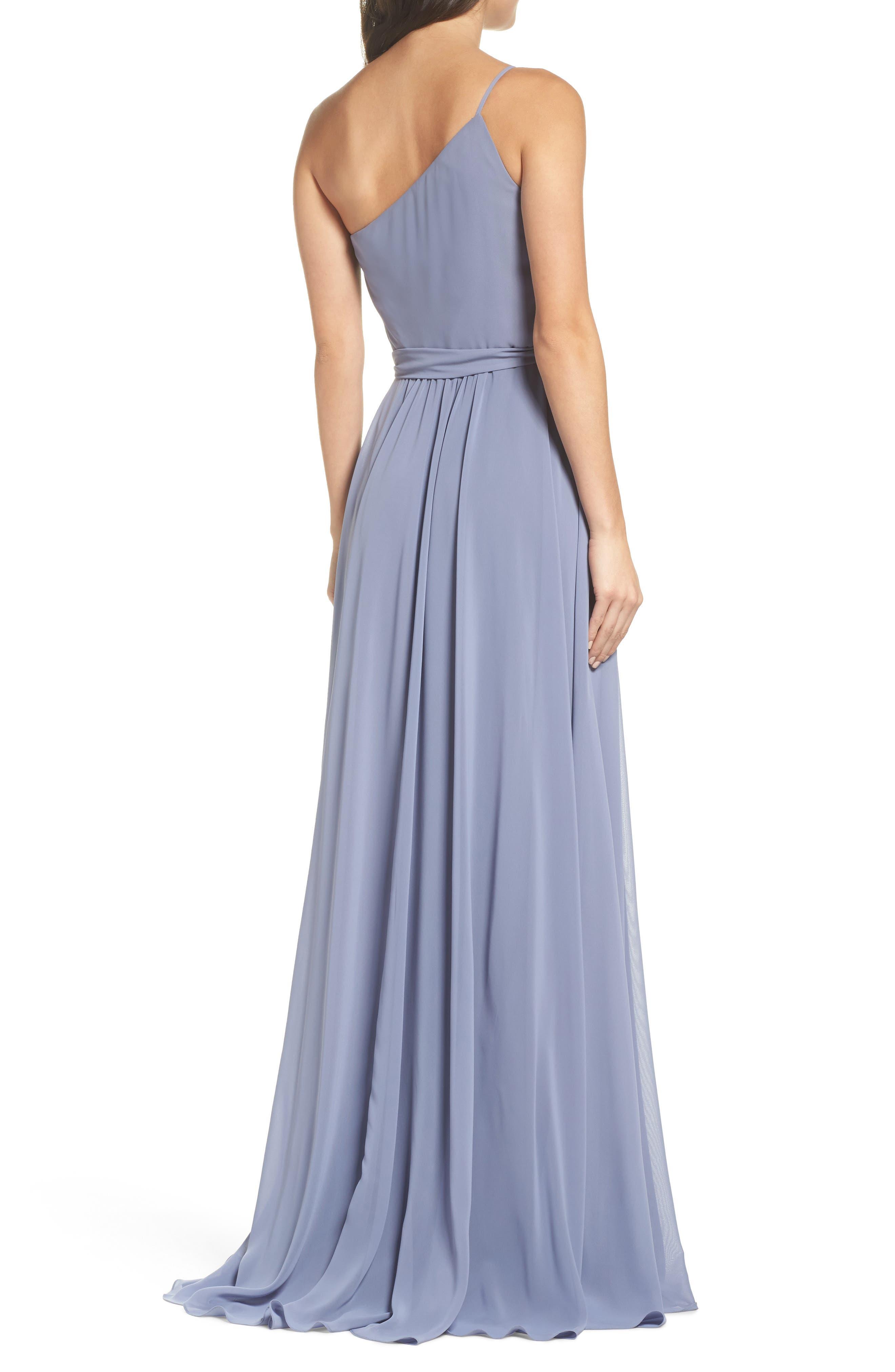 One-Shoulder Chiffon A-Line Gown,                             Alternate thumbnail 2, color,                             020