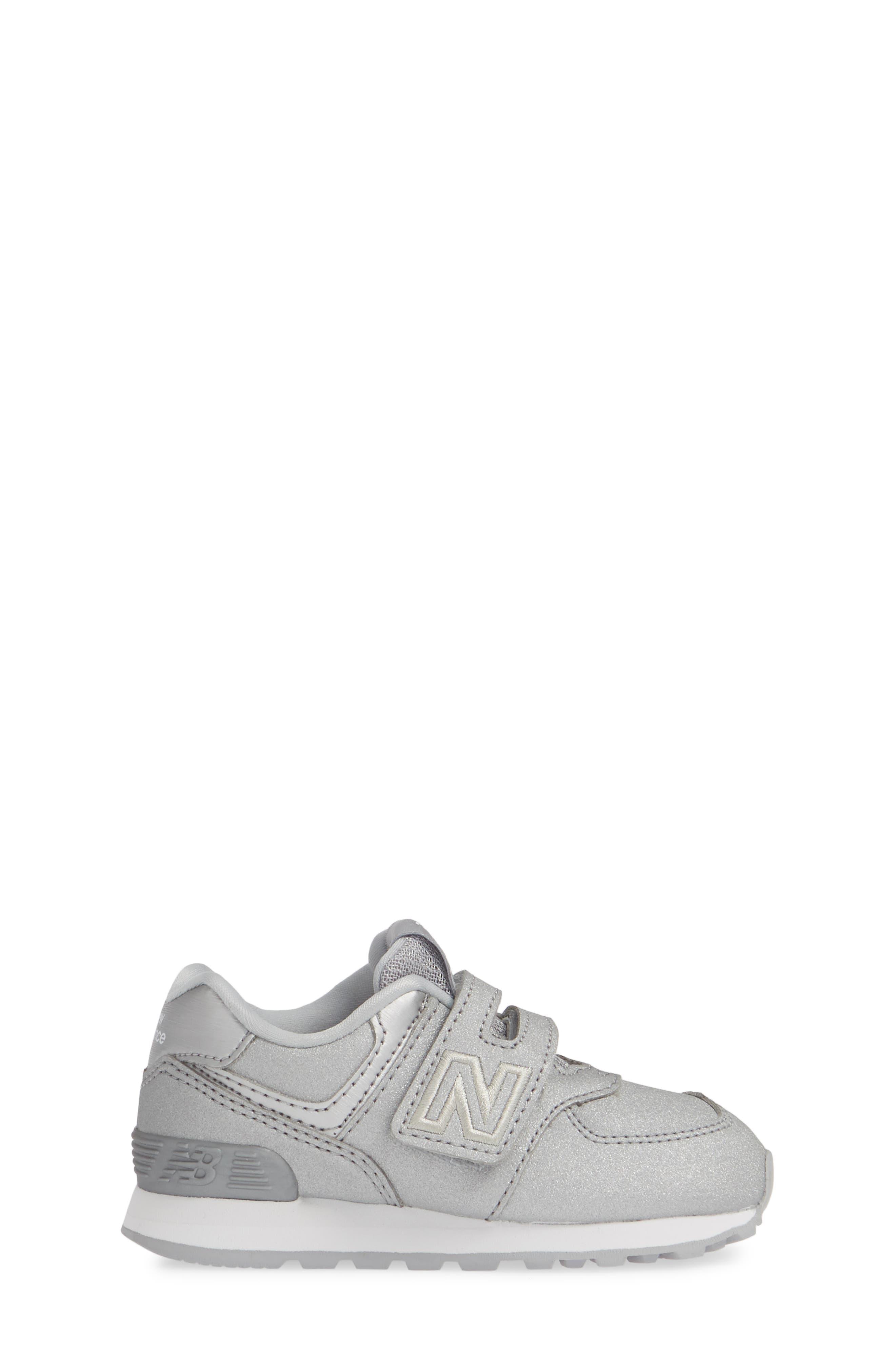 574 Essentials Glitter Sneaker,                             Alternate thumbnail 3, color,                             SILVER