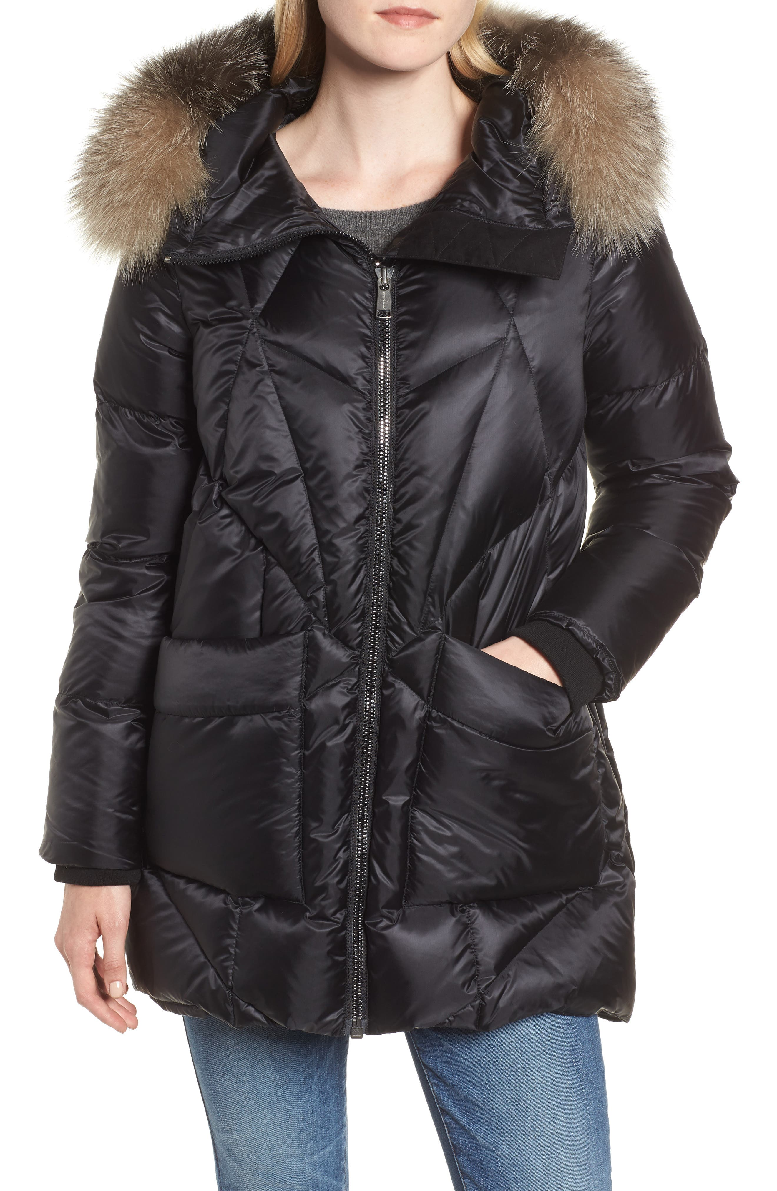 Andrew Marc Genuine Fox Fur Trim Quilted Down Coat, Black