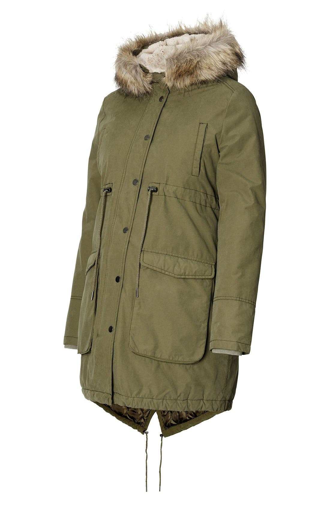 Malin Maternity Jacket with Faux Fur Trim,                             Alternate thumbnail 4, color,                             ARMY