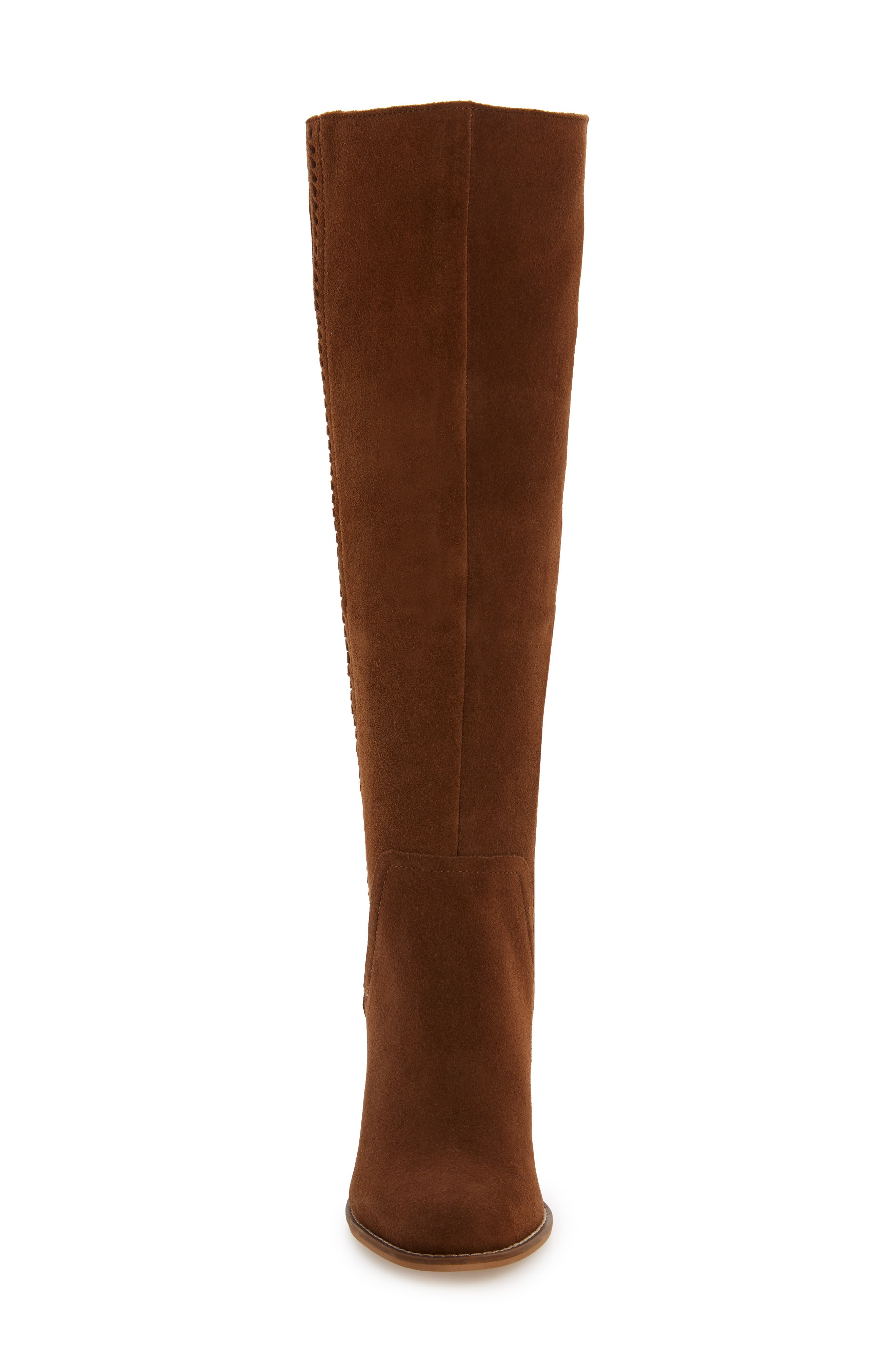 Roxana Knee High Boot,                             Alternate thumbnail 4, color,                             CHESTNUT SUEDE