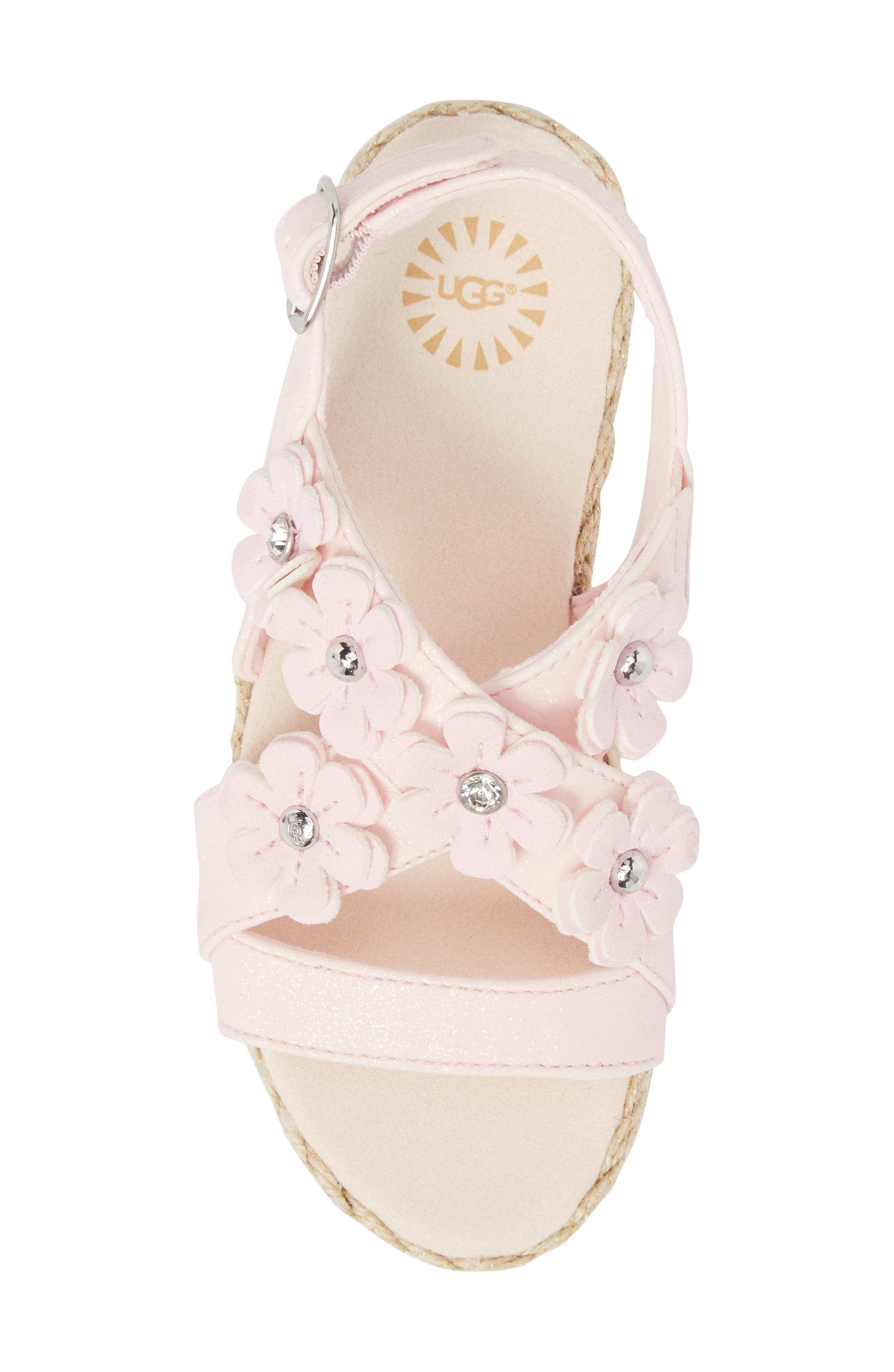 Allairey Sparkles Espadrille Sandal,                             Alternate thumbnail 5, color,                             SEASHELL PINK
