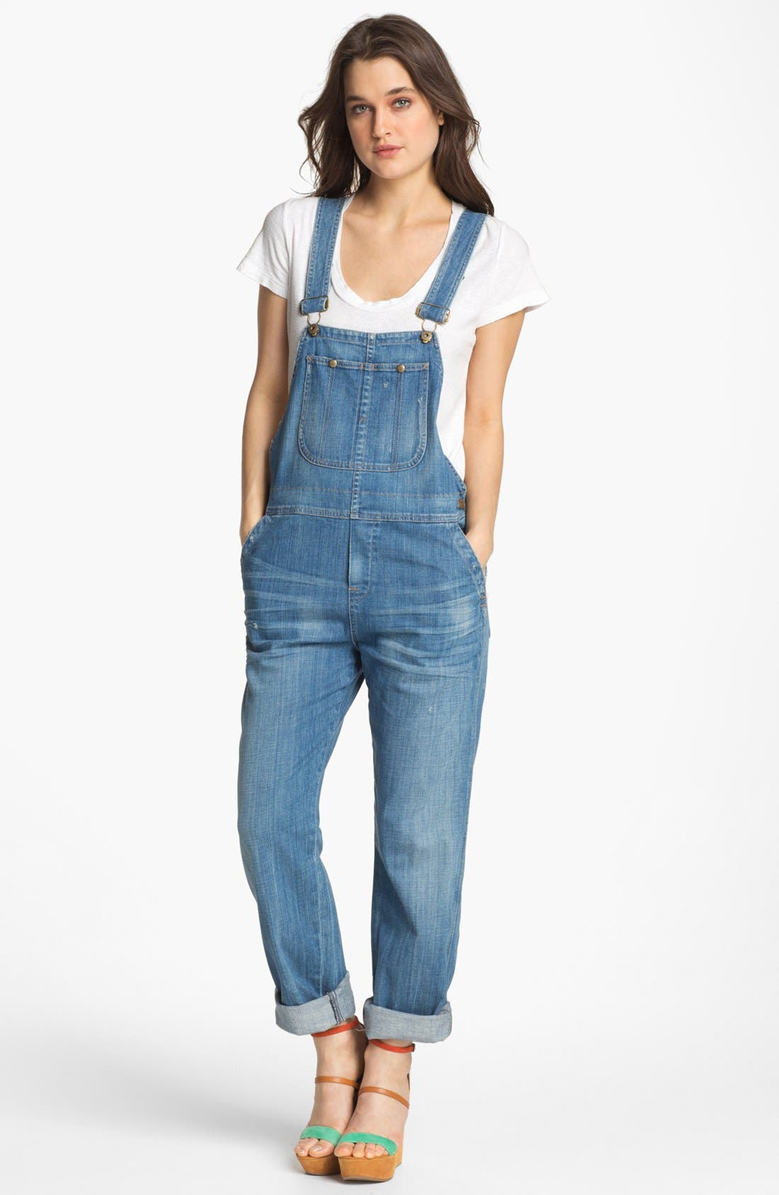 'Quincy' Stretch Denim Overalls, Main, color, 496