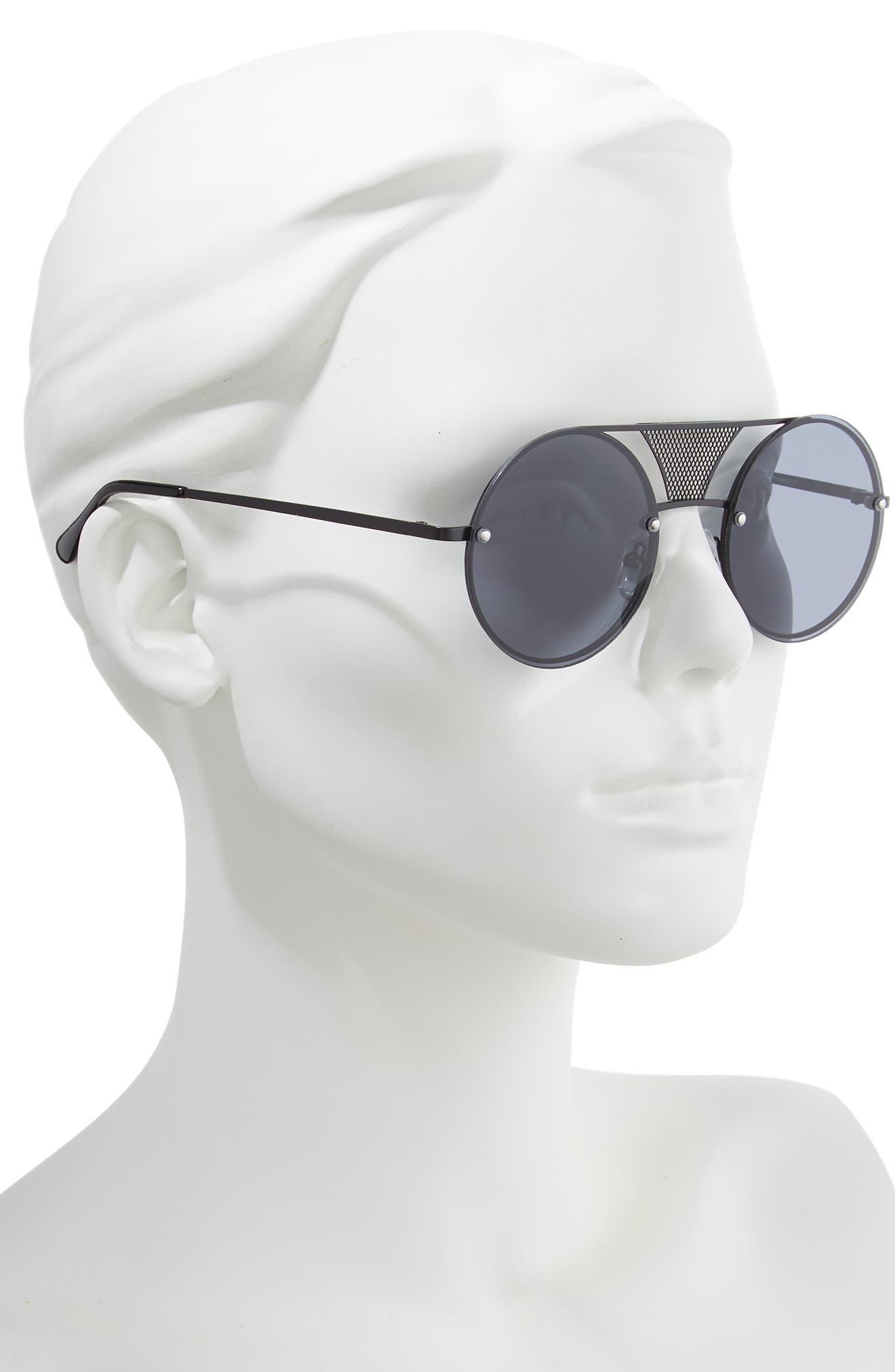 52mm Mesh Browbar Round Aviator Sunglasses,                             Alternate thumbnail 2, color,                             BLACK