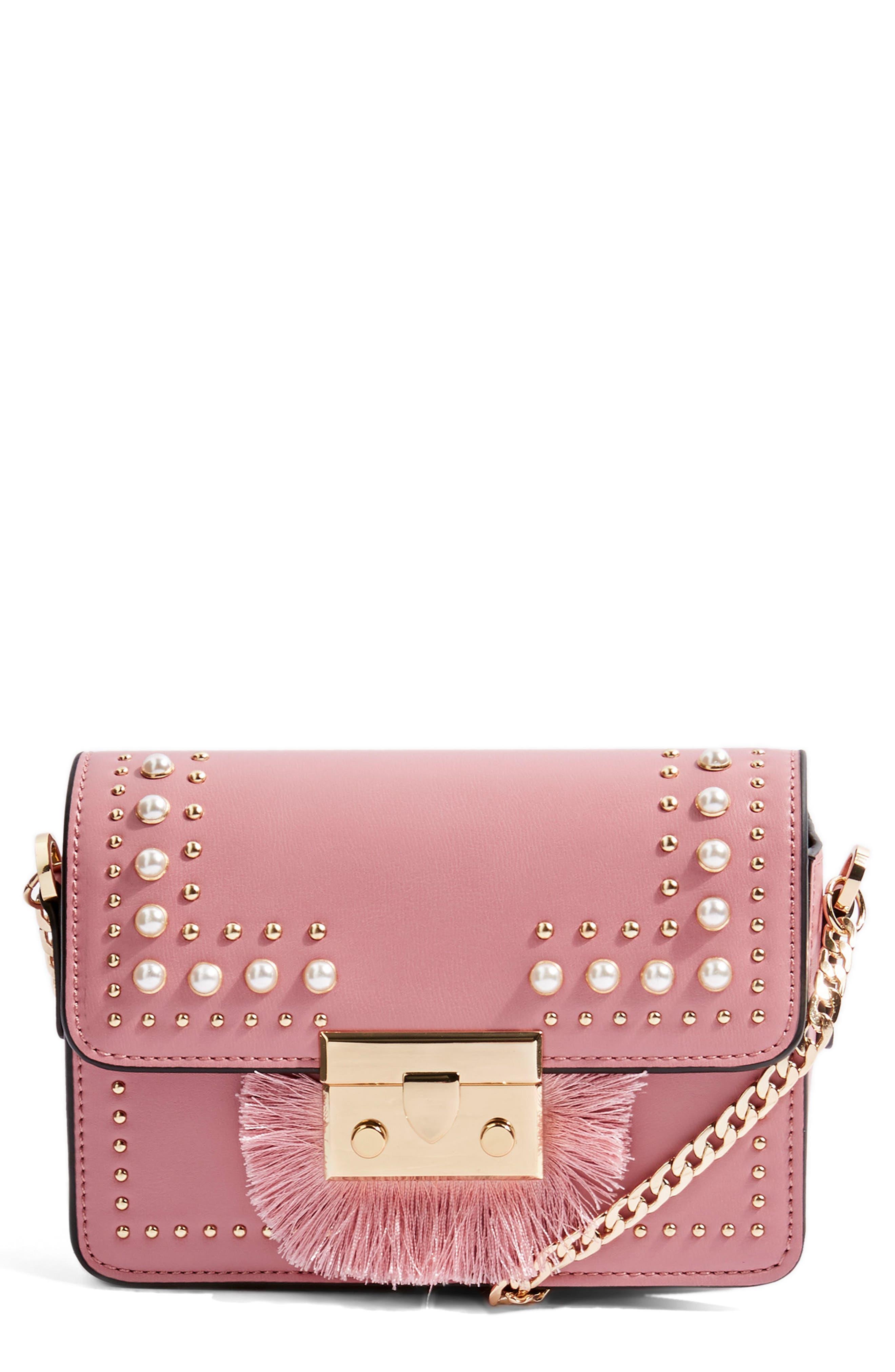 Rosie Imitation Pearl Fringe Crossbody Bag,                             Main thumbnail 1, color,                             650