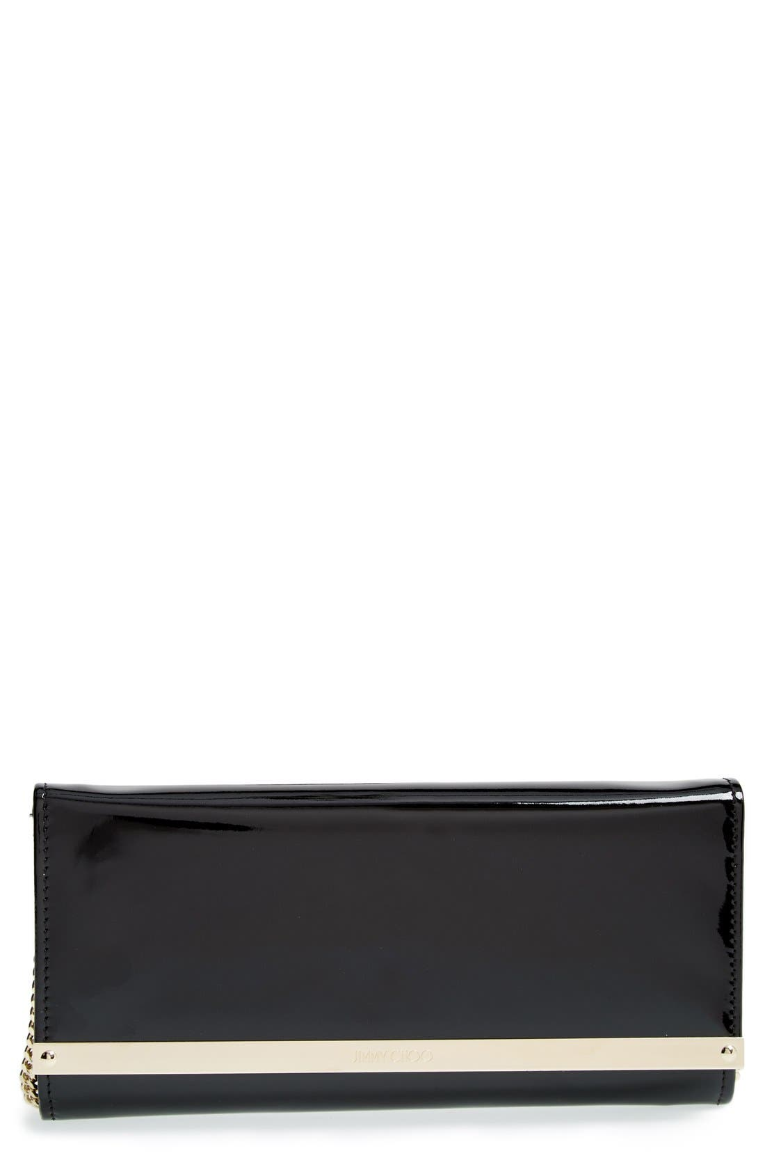 'Milla' Patent Leather Wallet on a Chain,                             Main thumbnail 2, color,
