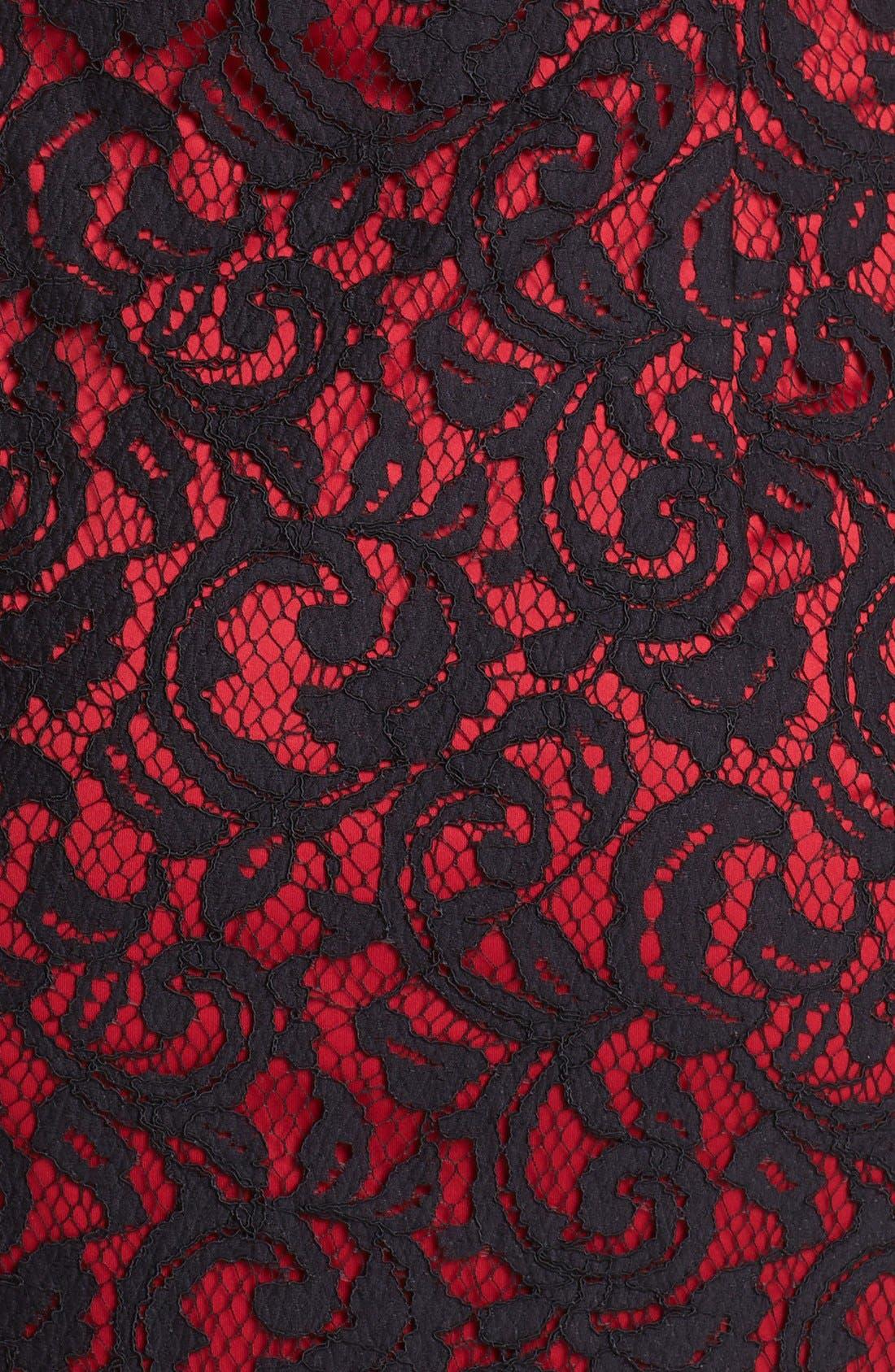 One-Shoulder Lace Sheath Dress,                             Alternate thumbnail 4, color,                             001