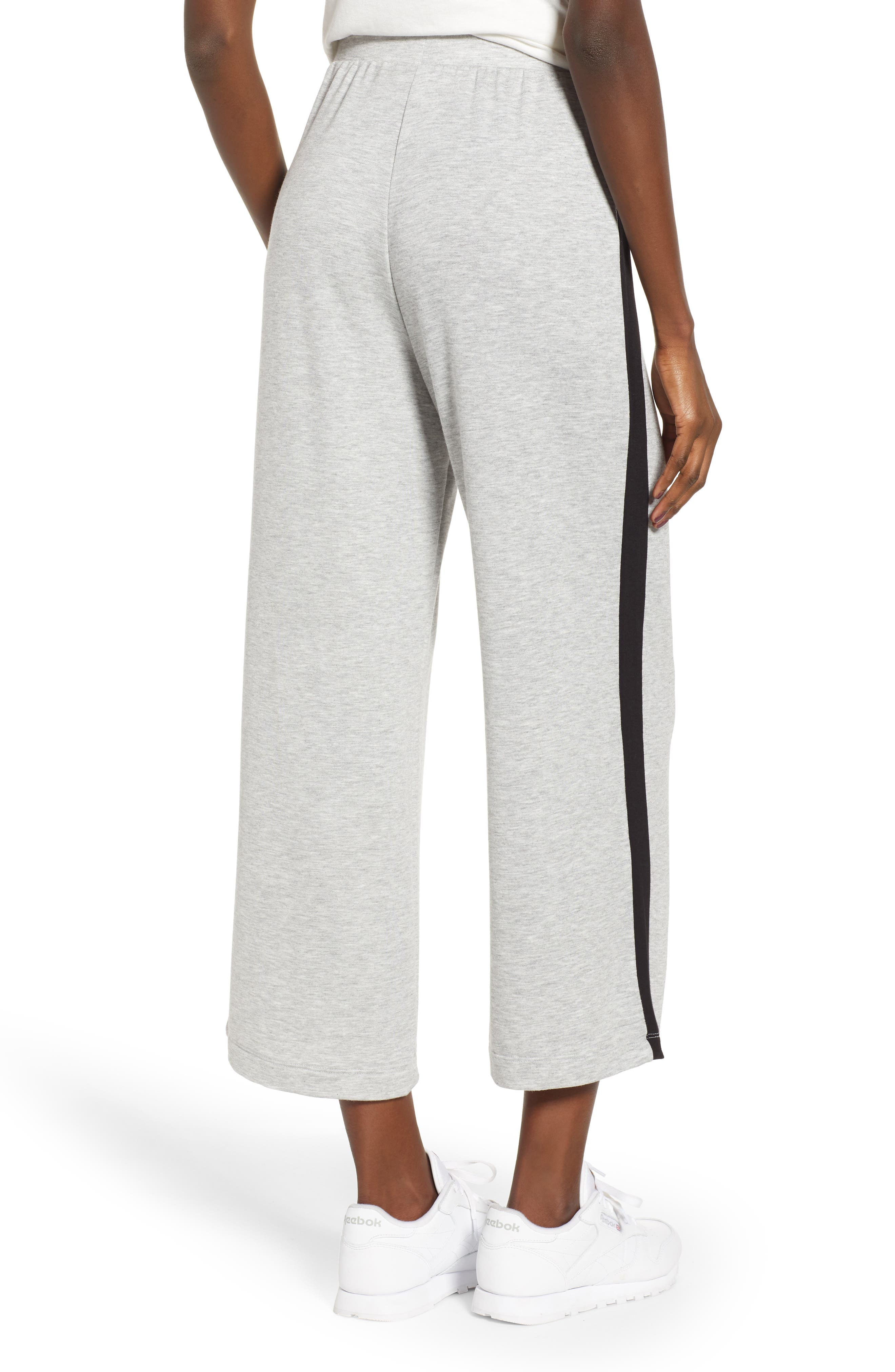Sporty Wide Leg Crop Pants,                             Alternate thumbnail 2, color,                             GREY PEARL HEATHER