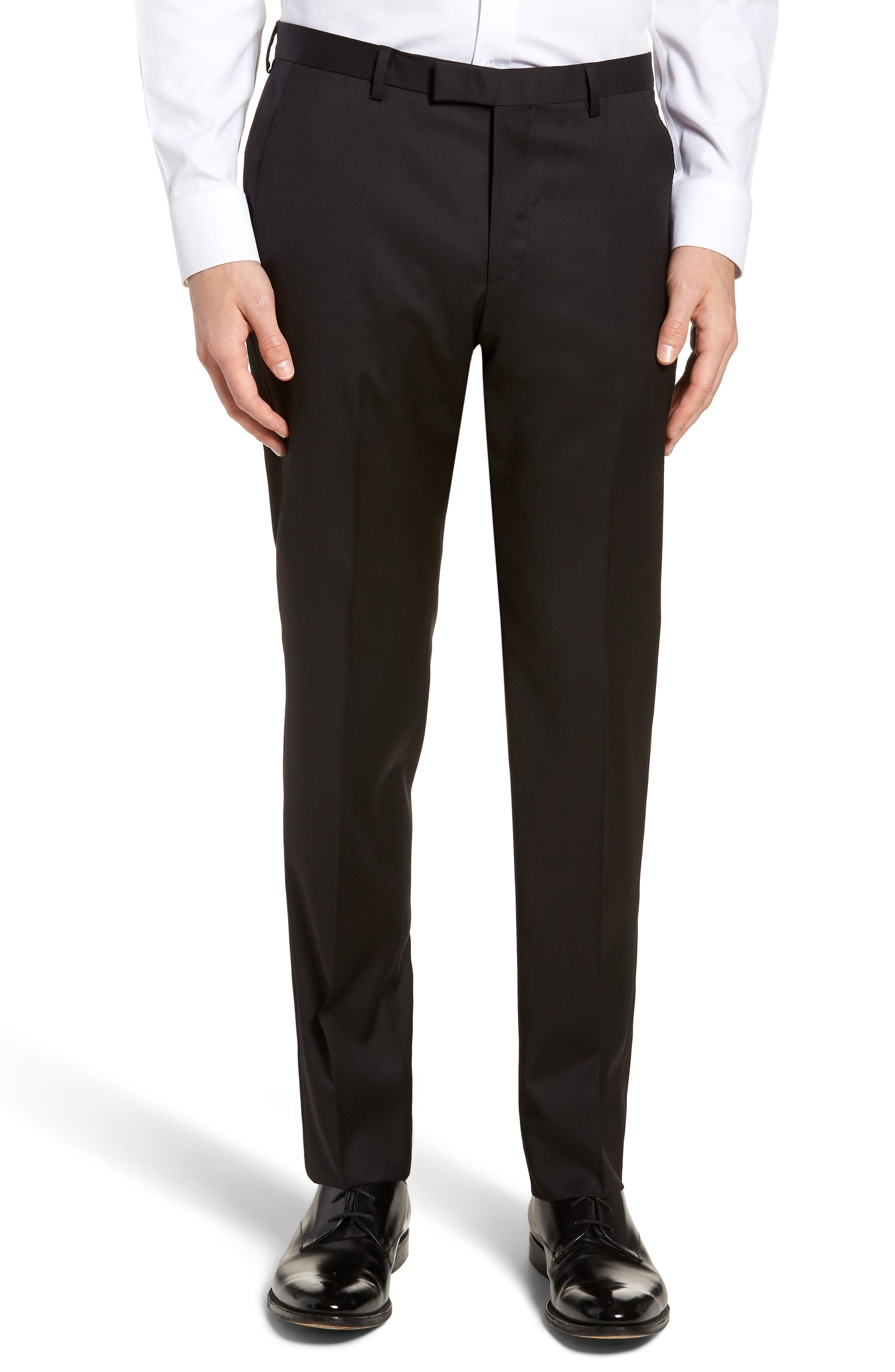 Lenon CYL Flat Front Solid Wool Trousers,                         Main,                         color, BLACK