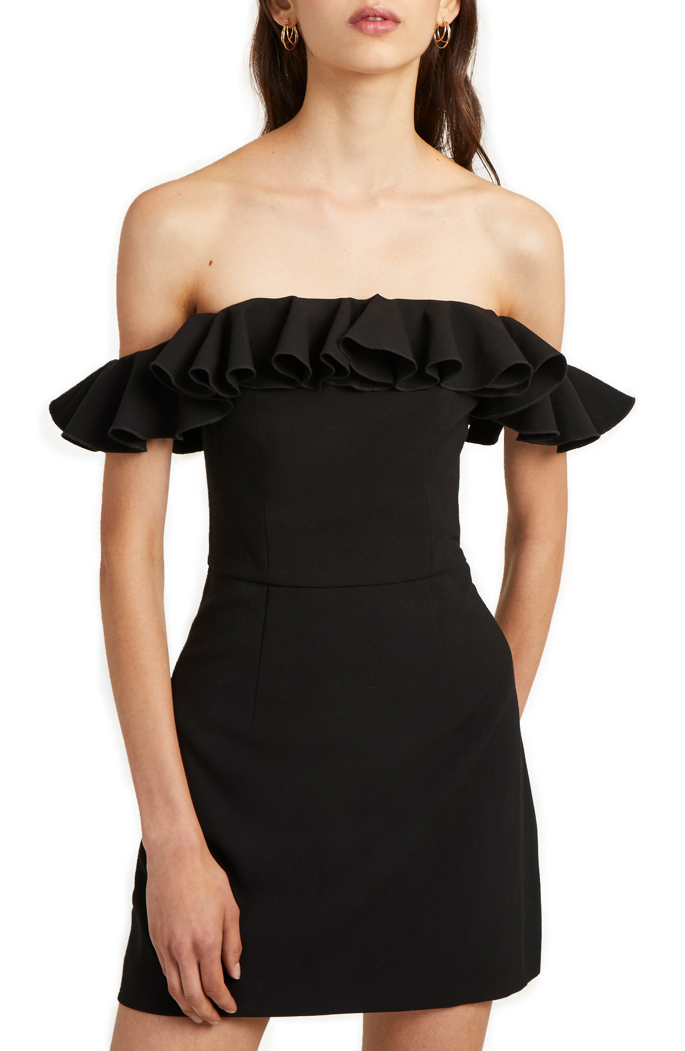 French Connection Whisper Light Off The Shoulder Ruffle Dress, Black