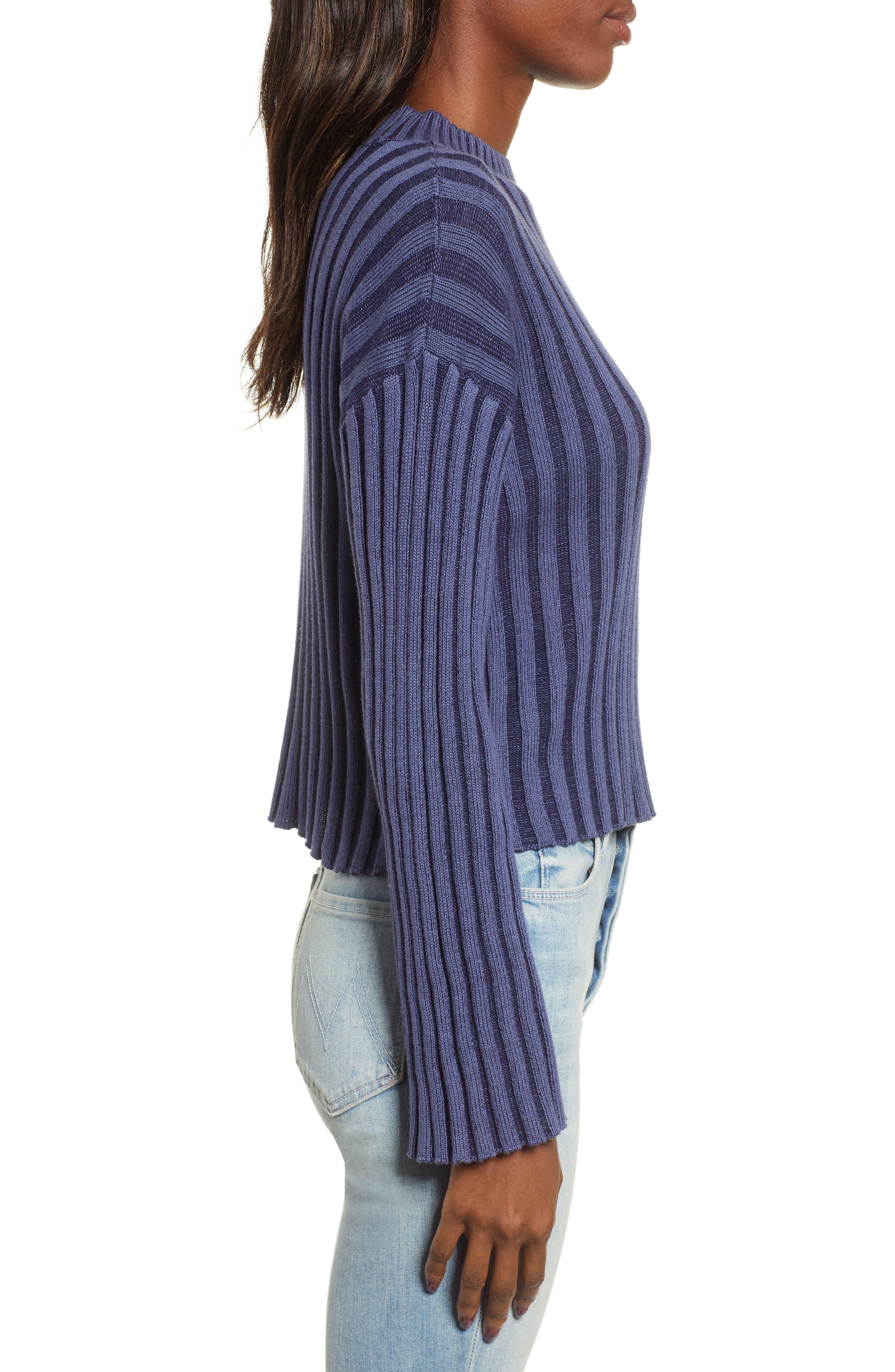 Shadow Rib Crop Sweater,                             Alternate thumbnail 4, color,                             NAVY EVENING