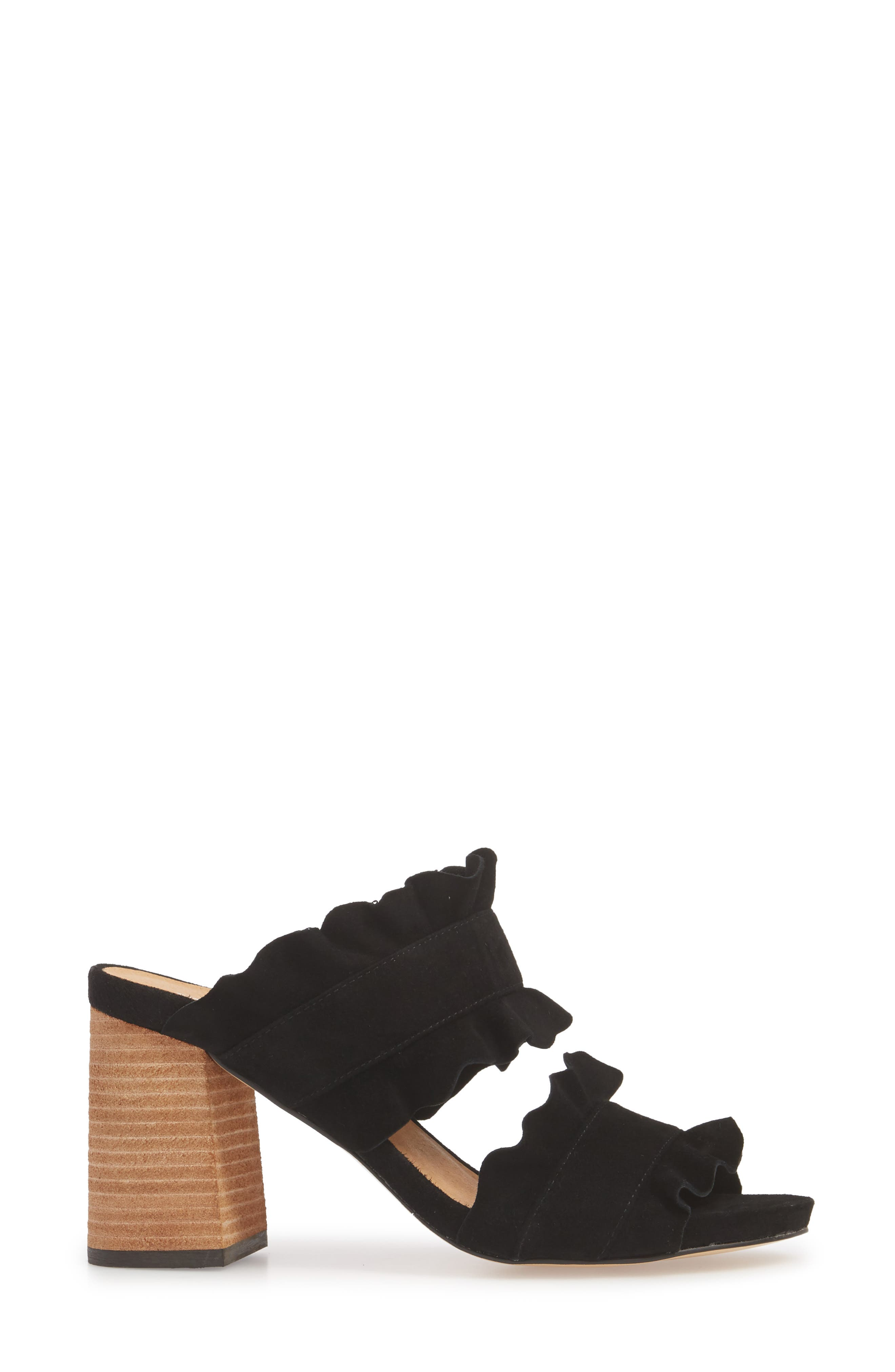 Rosie Ruffle Slide Sandal,                             Alternate thumbnail 3, color,                             BLACK