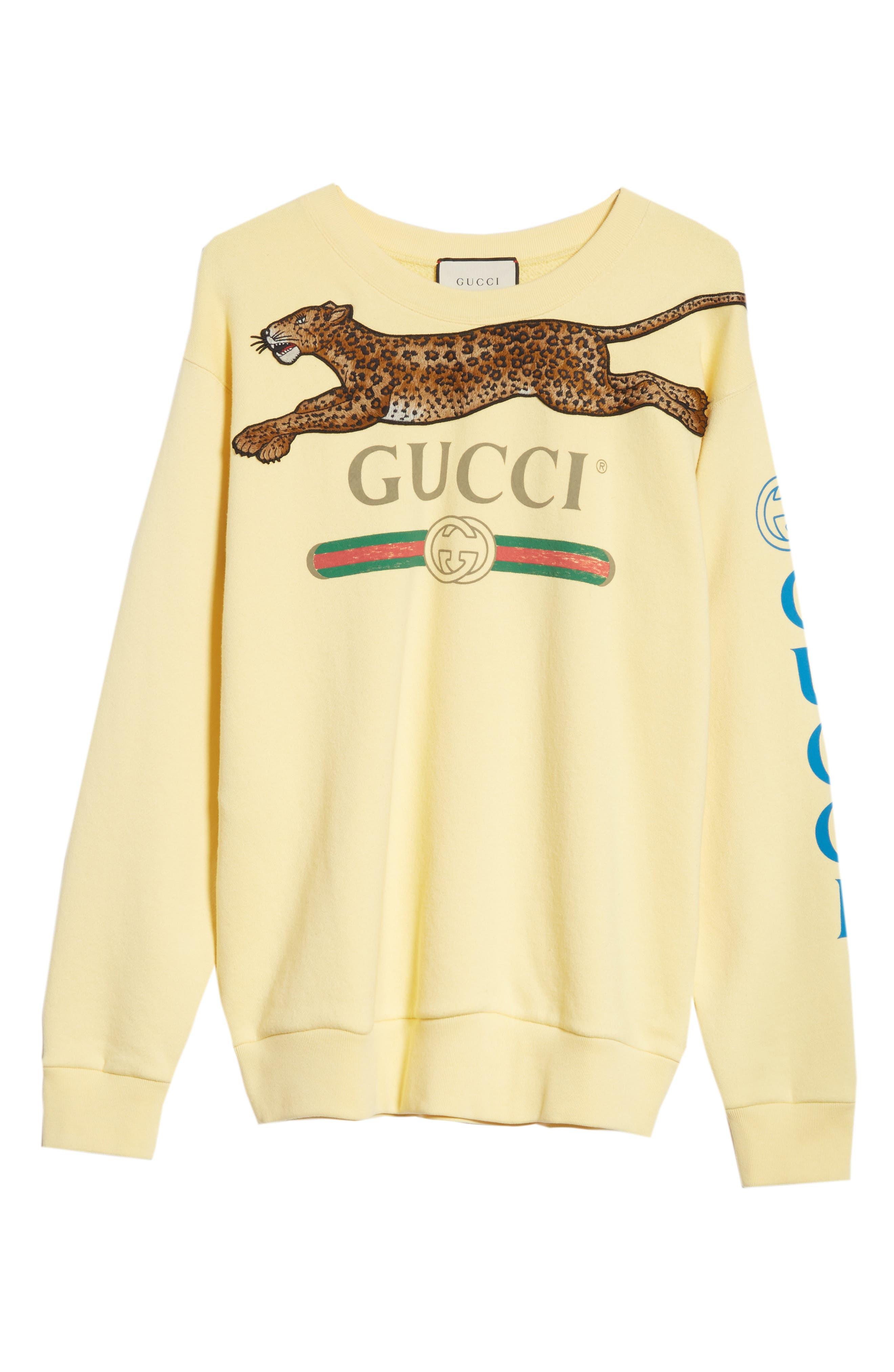 Leopard Detail Logo Sweatshirt,                             Alternate thumbnail 4, color,                             YELLOW