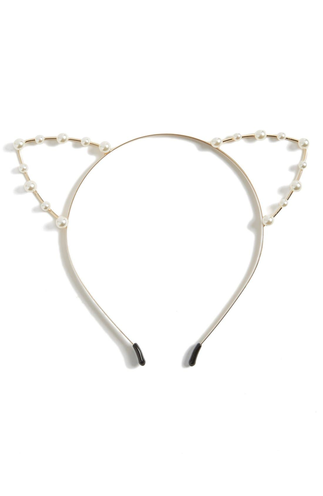 Faux Pearl Embellished Cat Headband,                         Main,                         color,