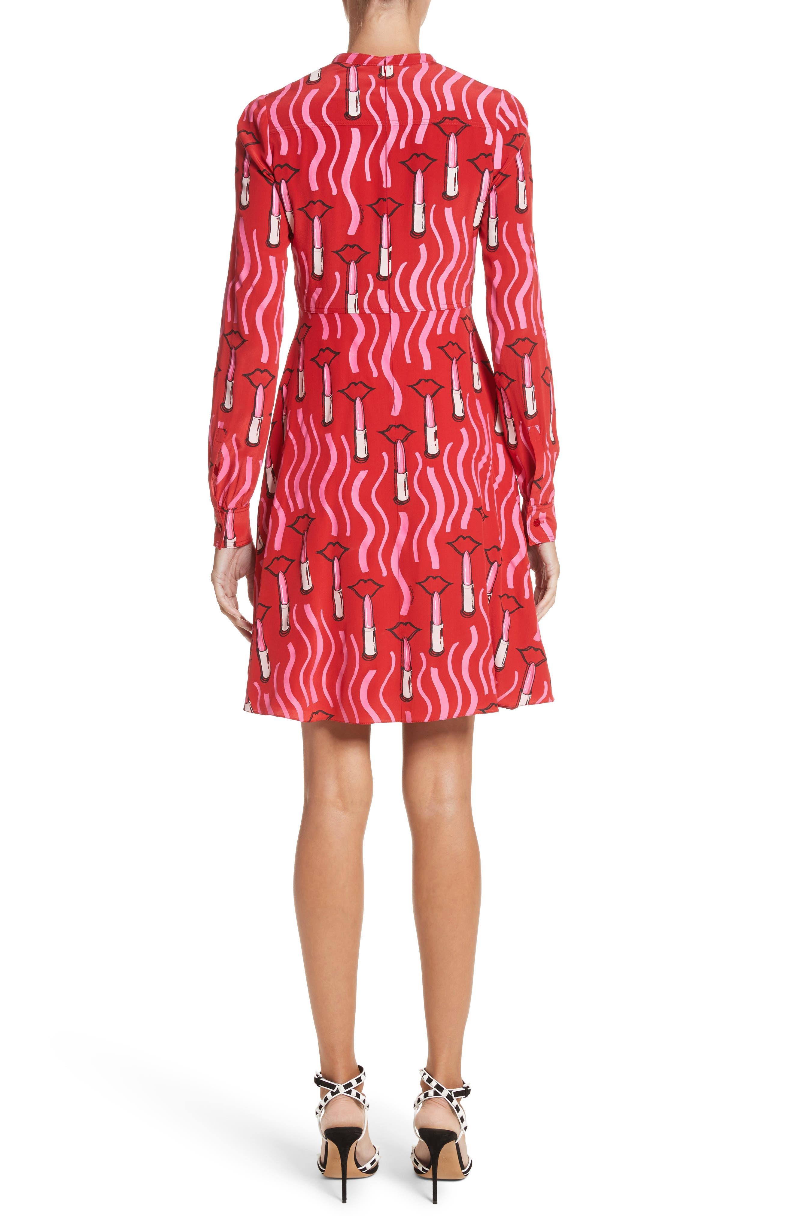 Lipstick Print Silk Fit & Flare Dress,                             Alternate thumbnail 2, color,