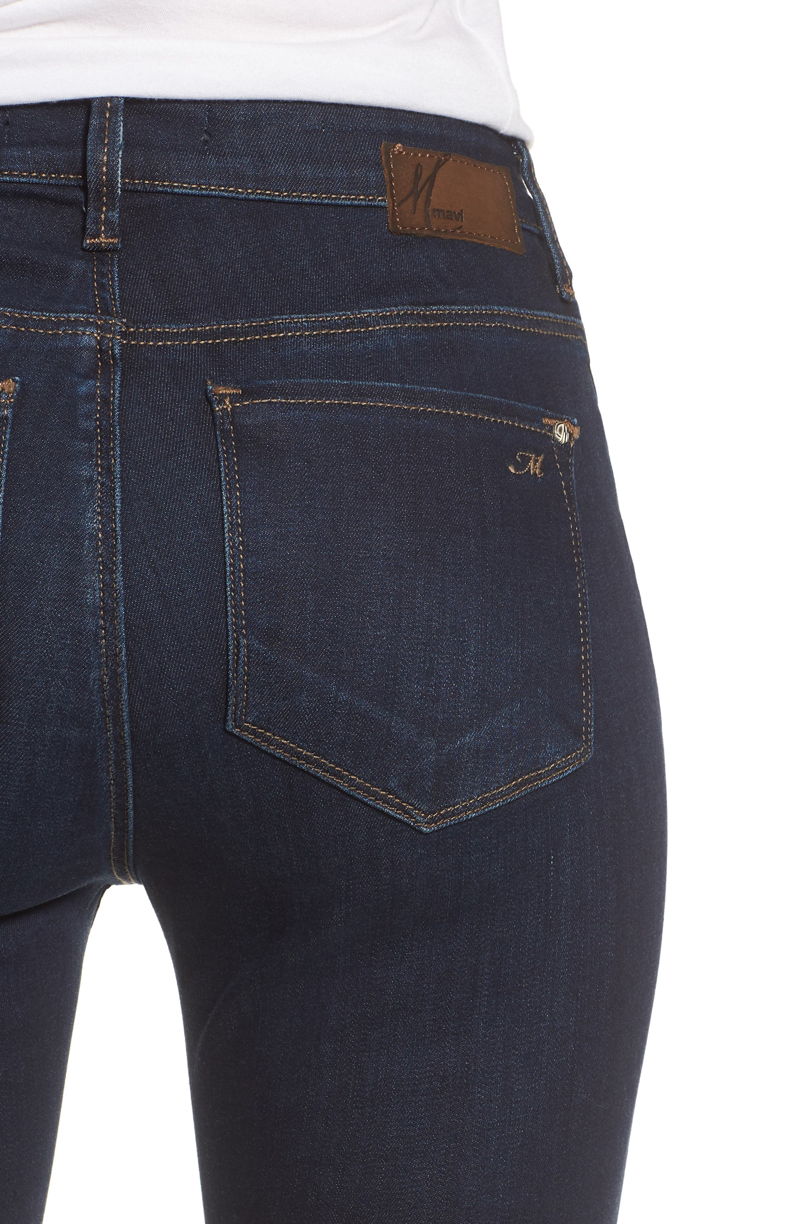 Kendra Straight Leg Jeans,                             Alternate thumbnail 4, color,                             DEEP SUPERSOFT