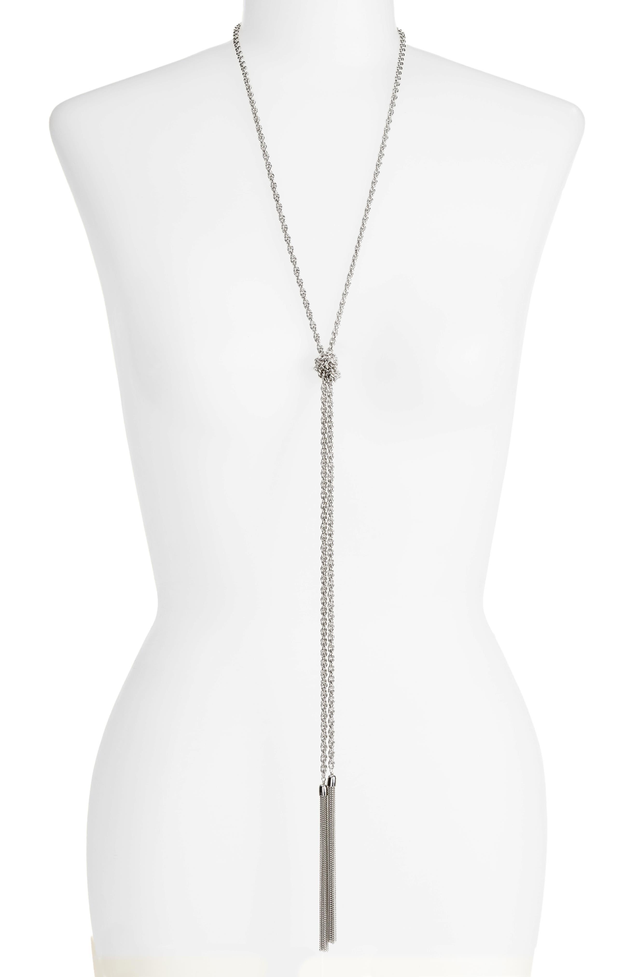 Fine Chain Tassel Lariat Necklace,                             Main thumbnail 1, color,                             040