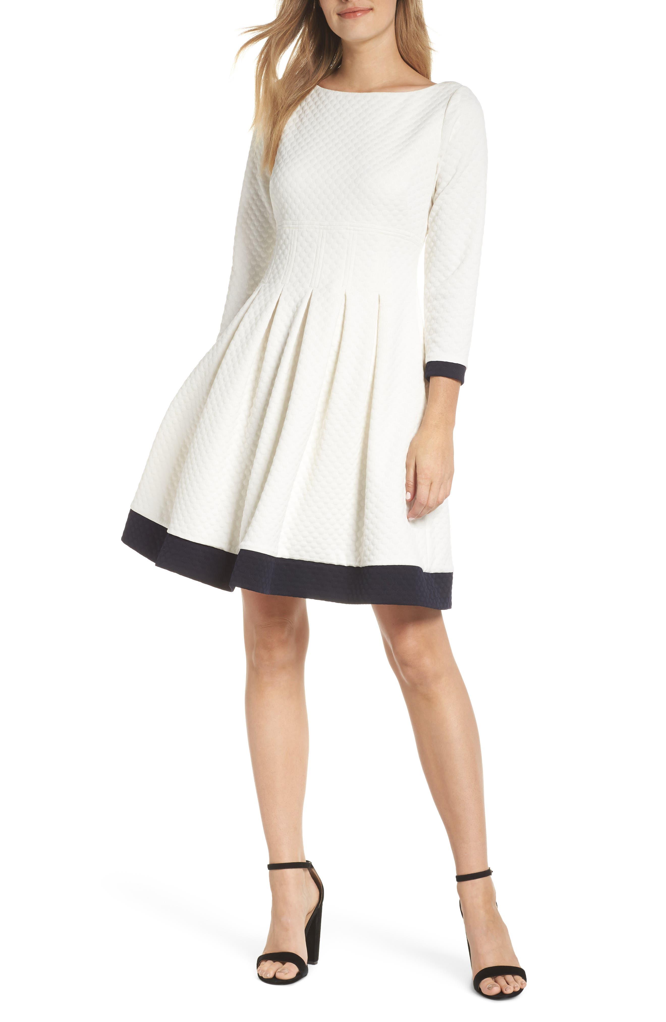 Eliza J Dot Textured Fit & Flare Dress, Ivory
