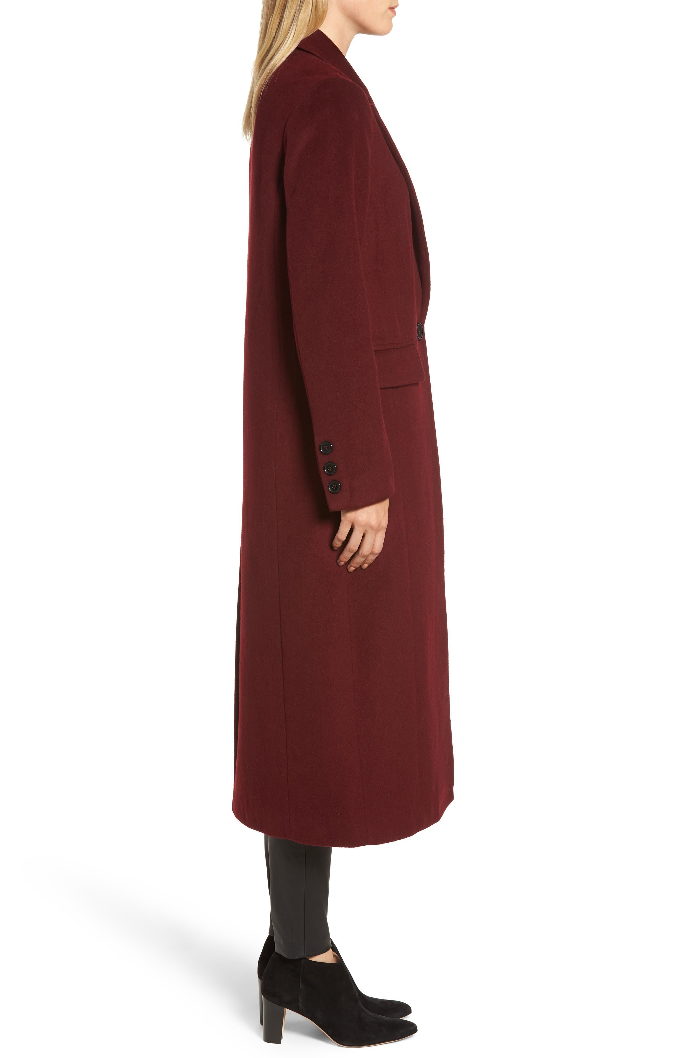 Wool Blend Menswear Coat,                             Alternate thumbnail 3, color,                             BURGUNDY