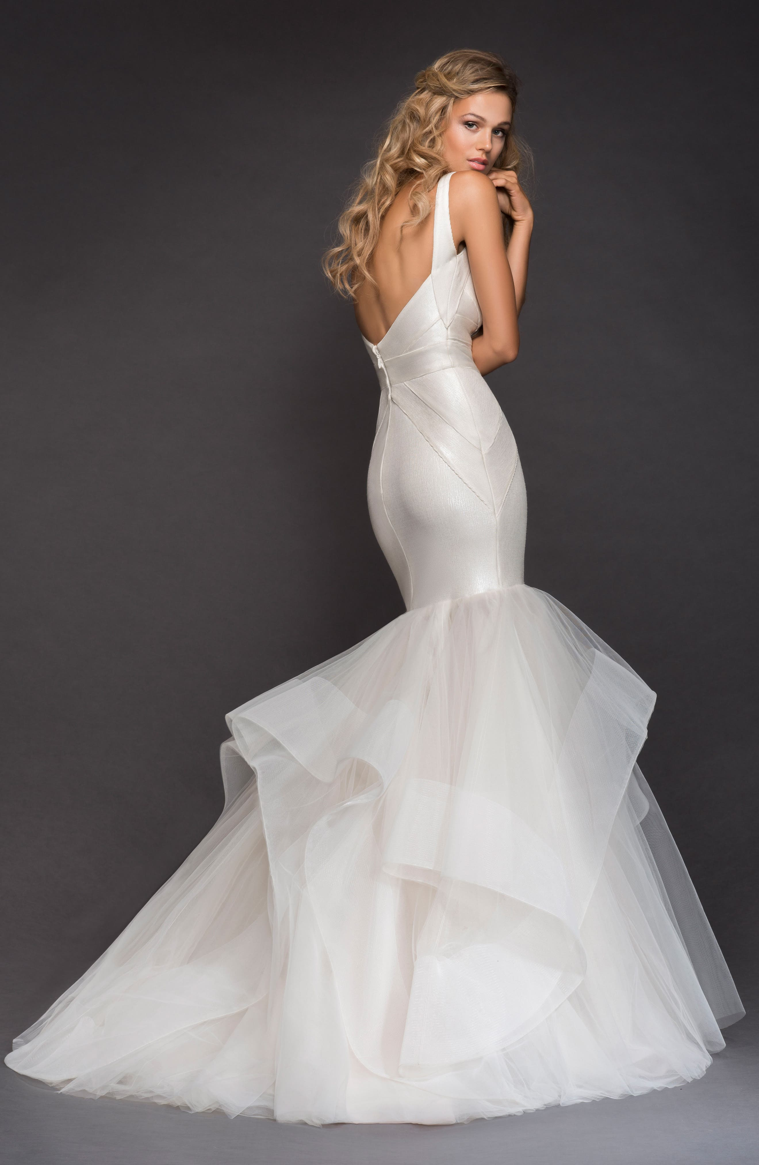 Glazer Bandage Knit Mermaid Gown,                             Alternate thumbnail 2, color,                             IVORY