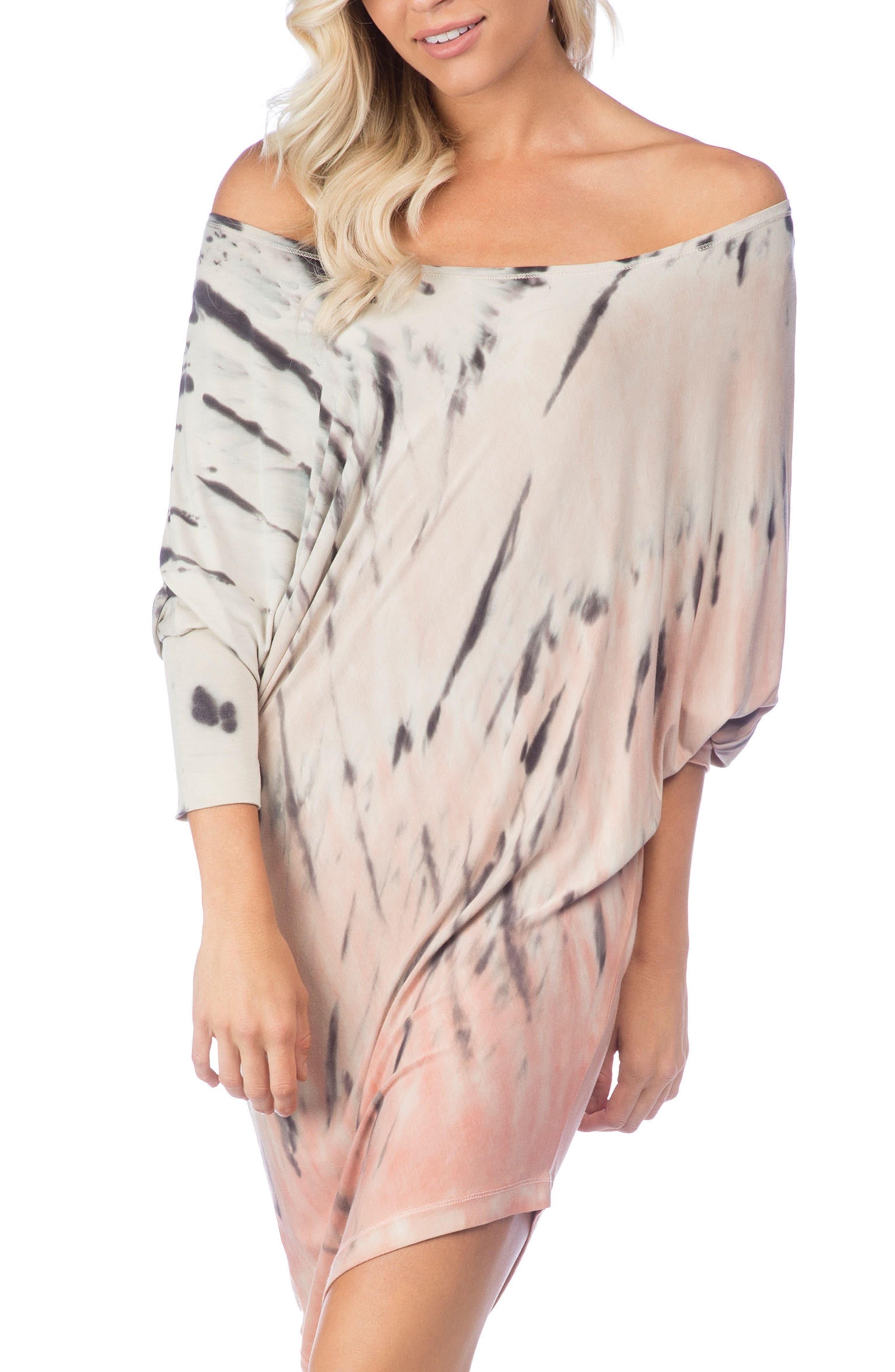 Playa Watercolor Sateen Cover-Up Dress,                             Main thumbnail 1, color,