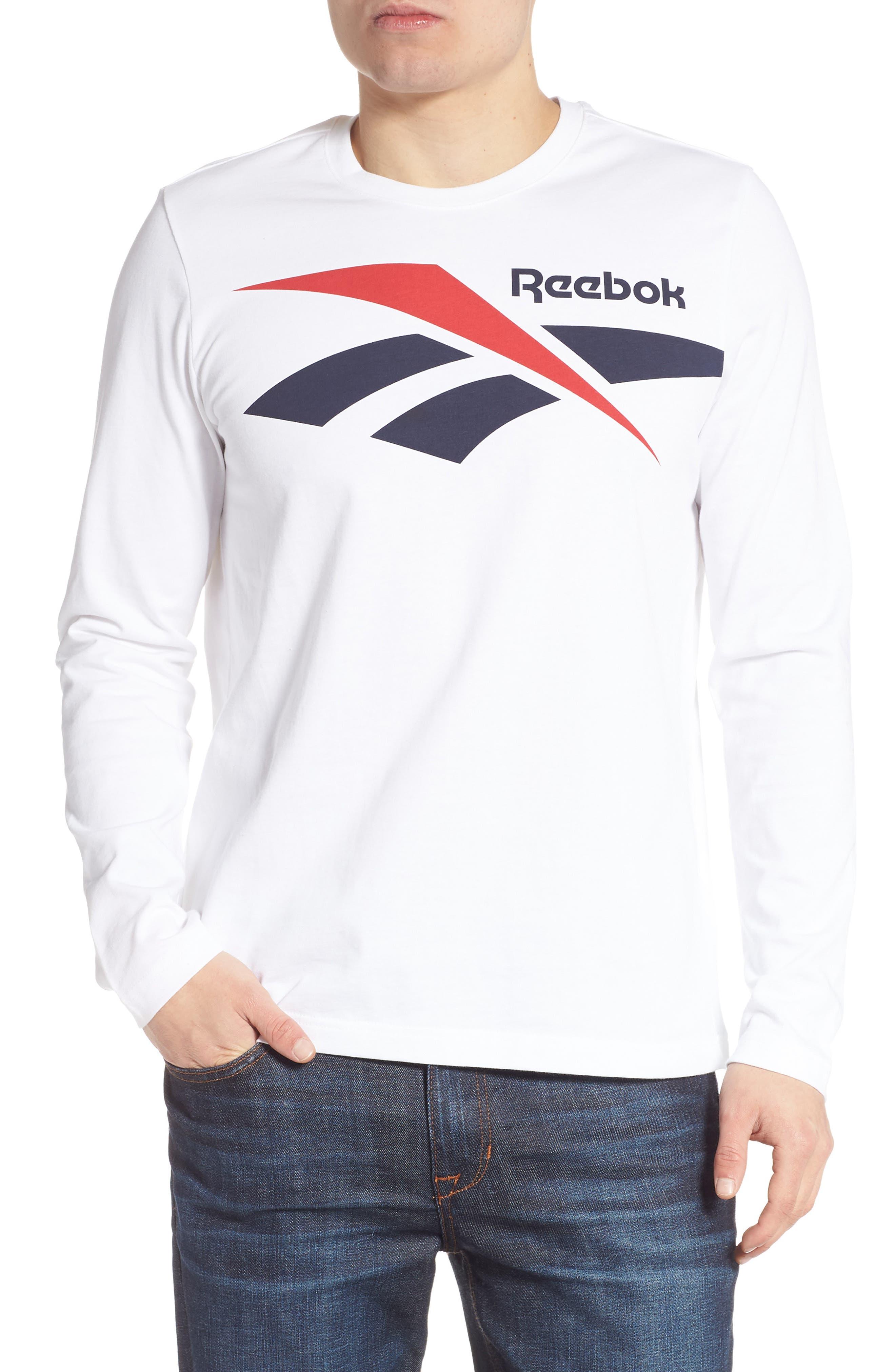 Reebok Classics Vector Logo Long Sleeve T-Shirt, White
