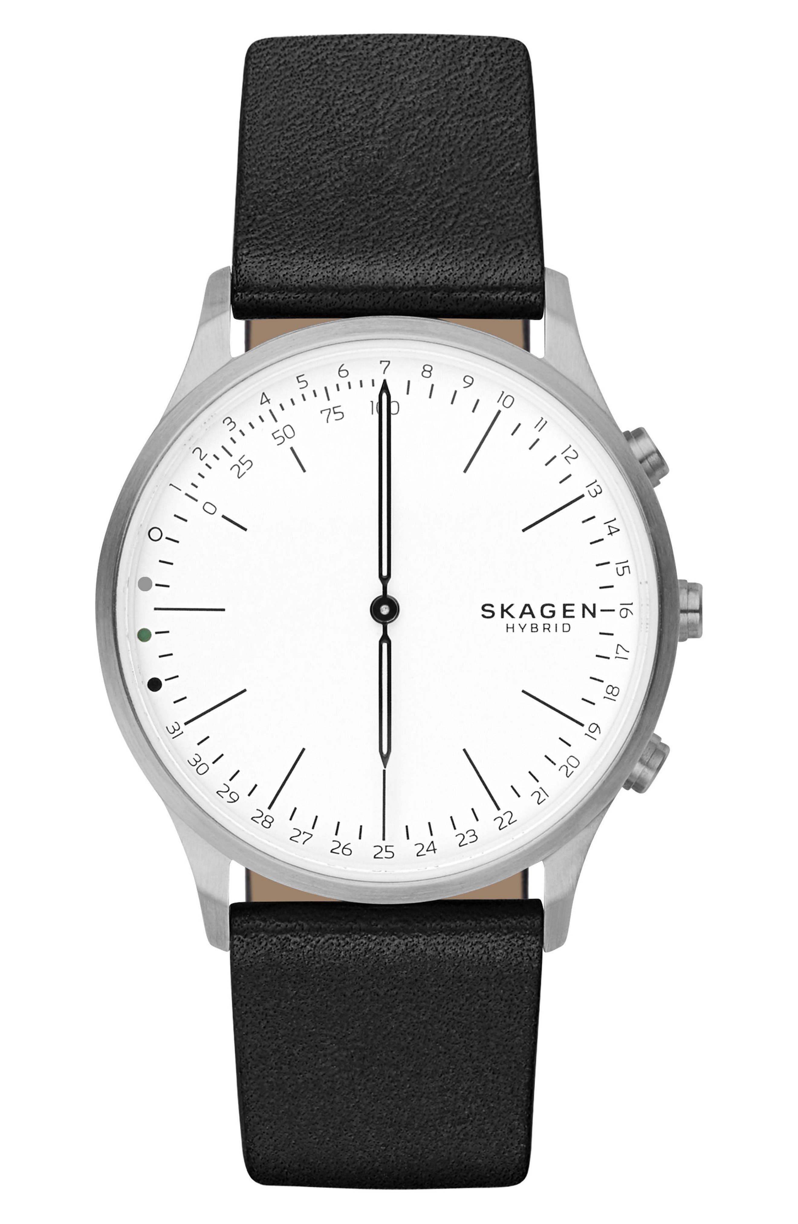 Jorn Hybrid Leather Strap Smart Watch, 41mm,                             Main thumbnail 1, color,                             010