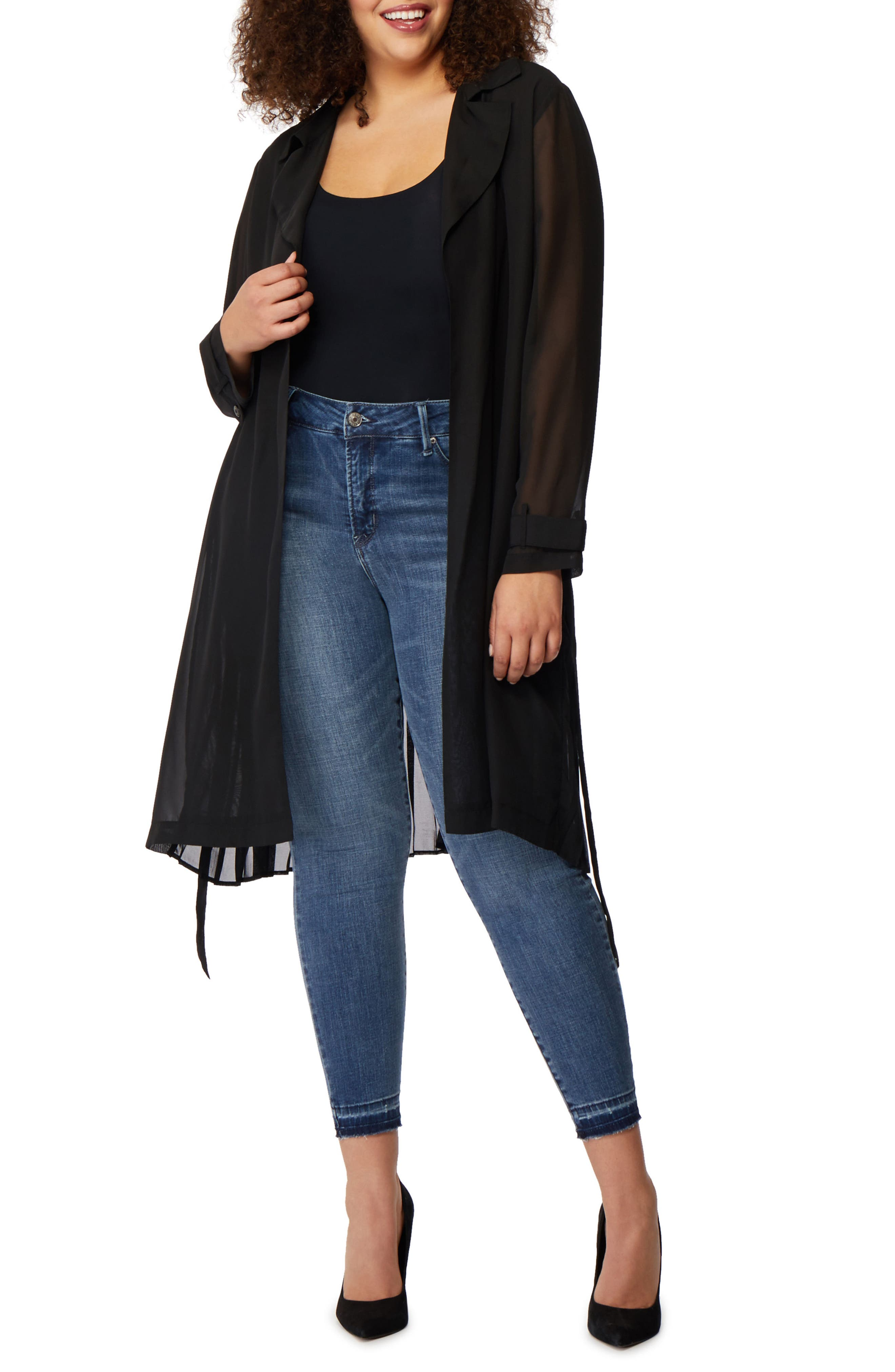 Pleat Back Trench Jacket,                             Alternate thumbnail 2, color,                             001