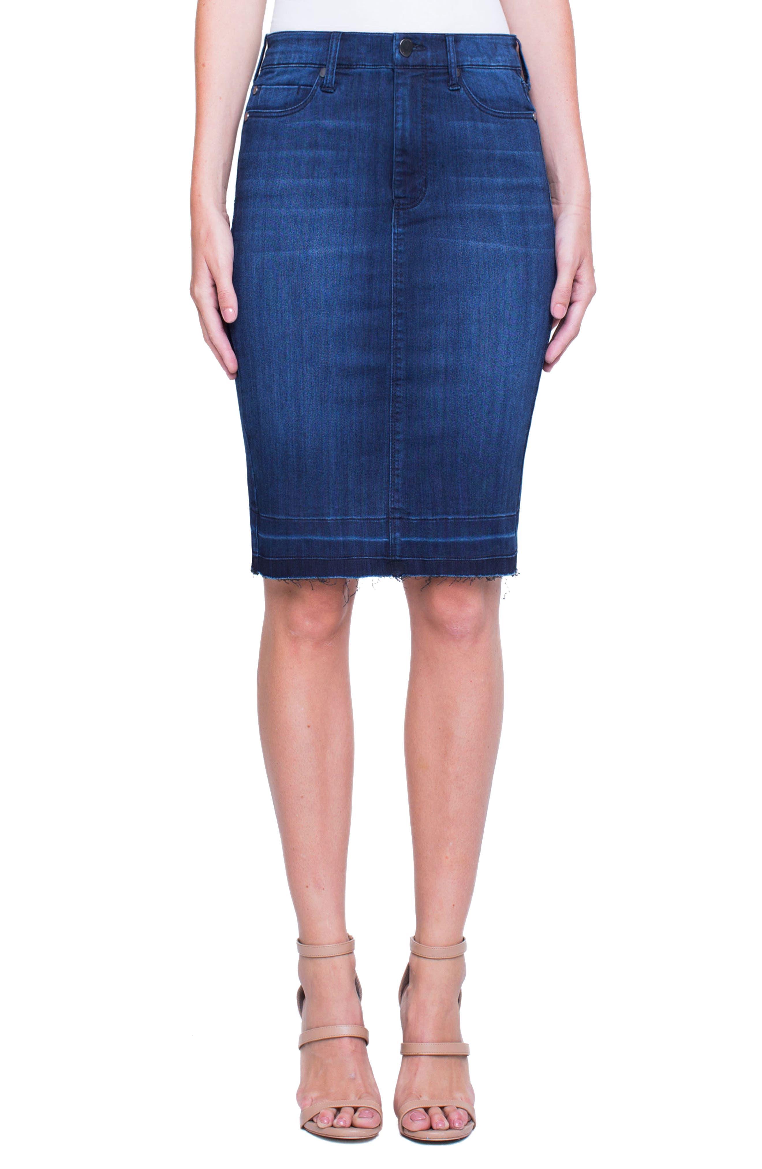 Denim Pencil Skirt,                             Main thumbnail 1, color,                             404