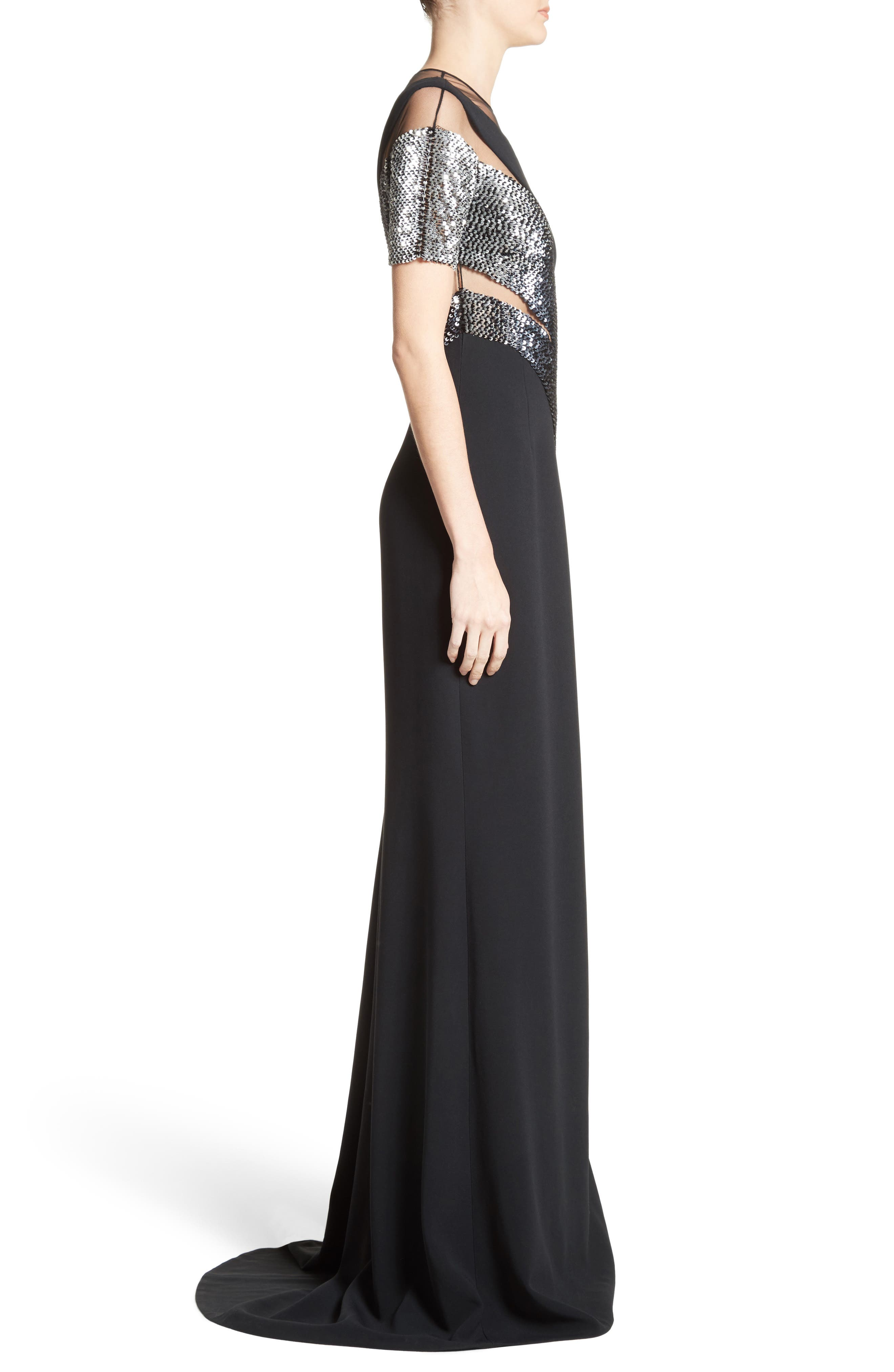 Sequined Silk Gown,                             Alternate thumbnail 3, color,                             001