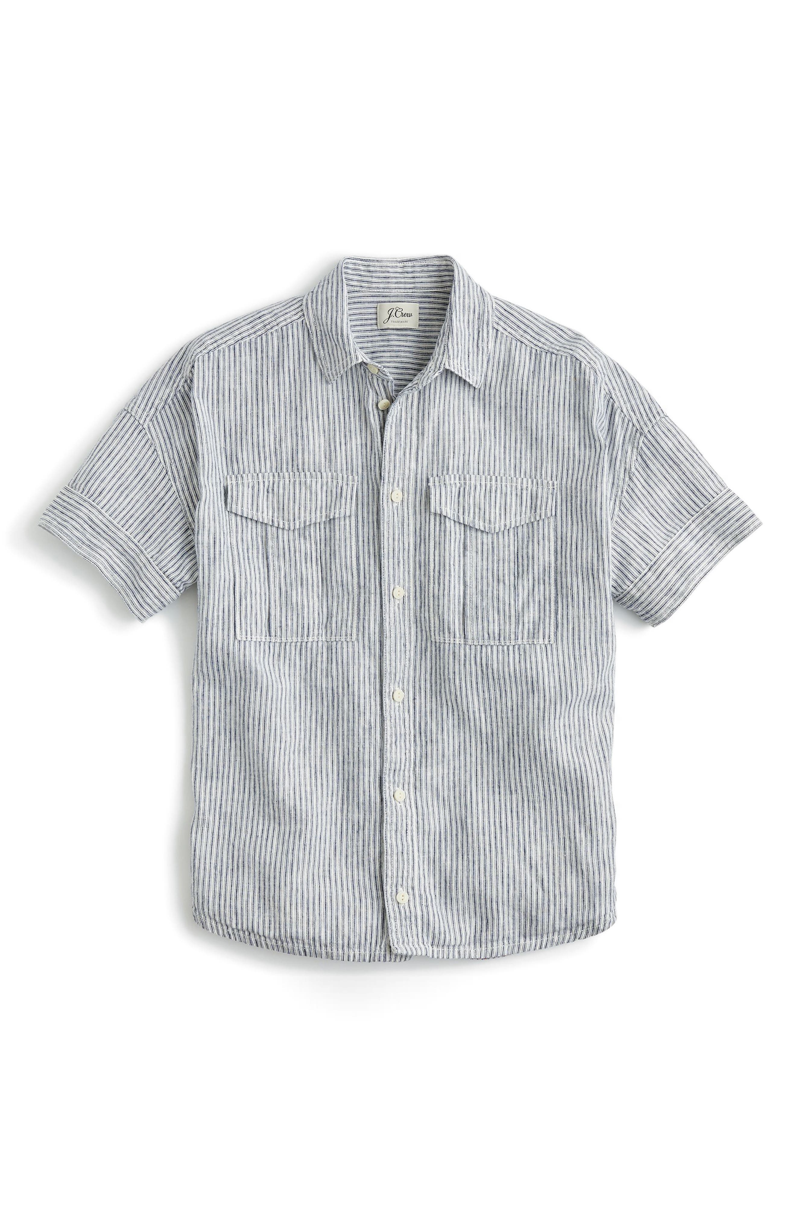 Utility Pocket Stripe Chambray Shirt,                             Alternate thumbnail 3, color,