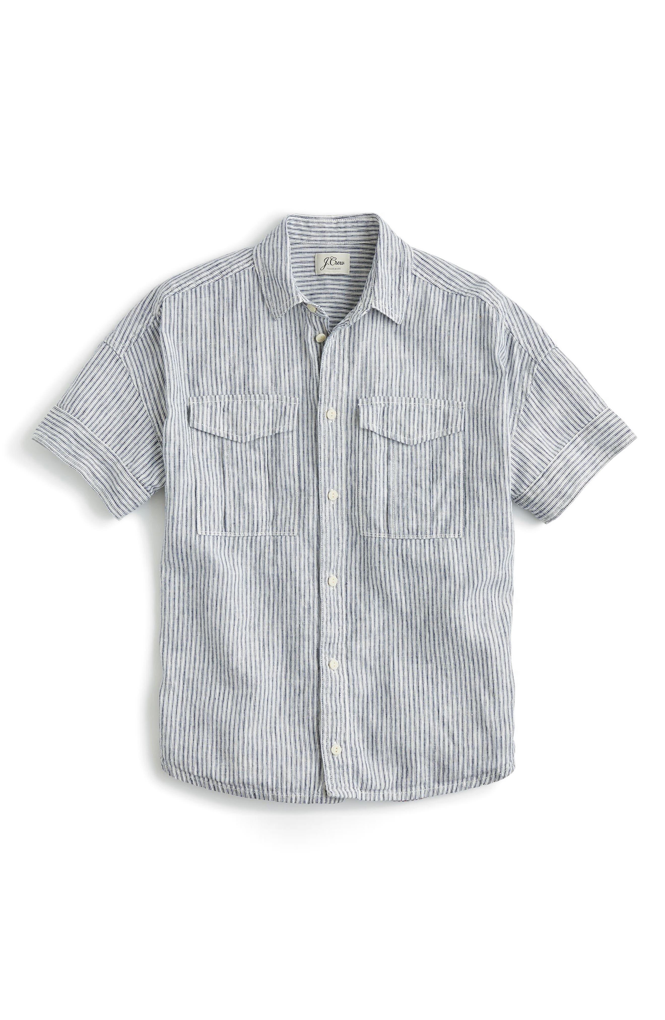 Utility Pocket Stripe Chambray Shirt,                             Alternate thumbnail 3, color,                             020