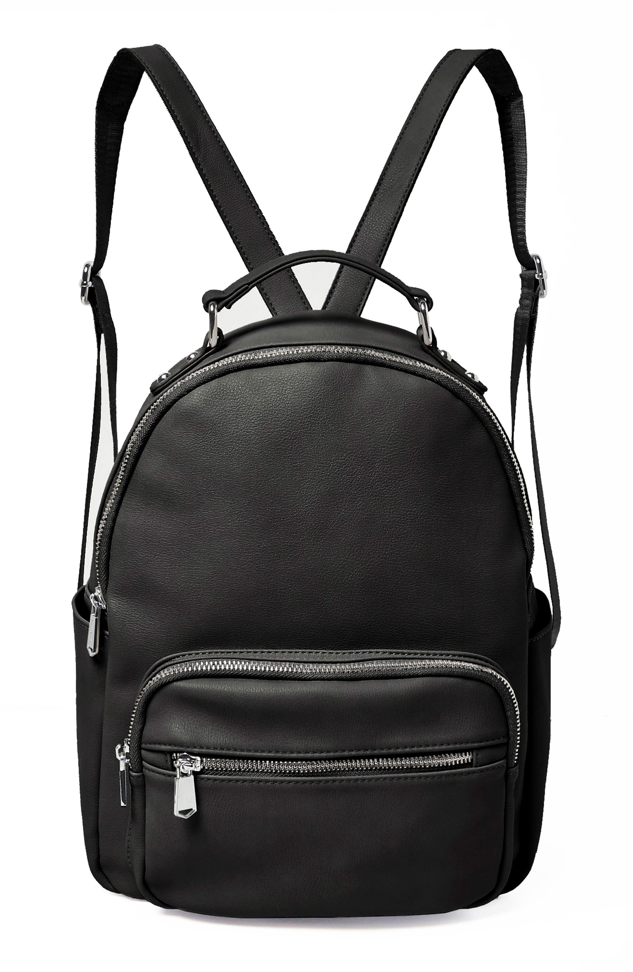 On My Own Vegan Leather Backpack,                         Main,                         color, BLACK