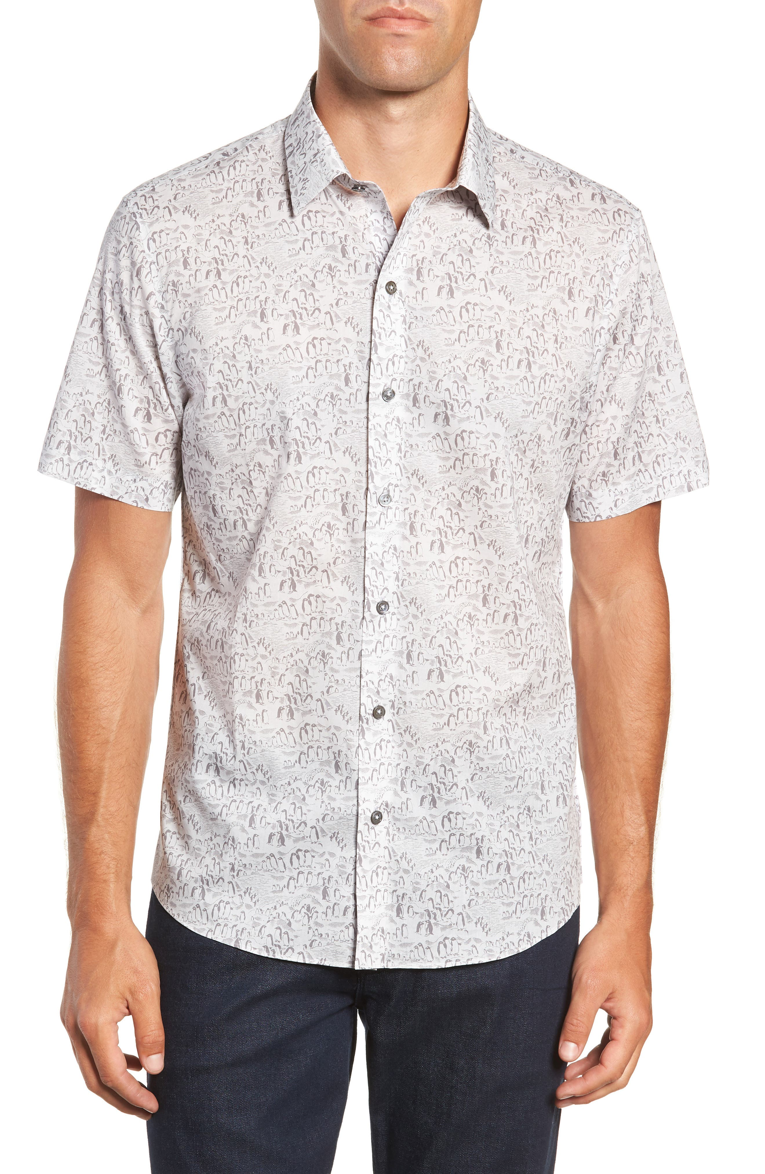 Burgess Regular Fit Sport Shirt,                             Main thumbnail 1, color,                             PEWTER