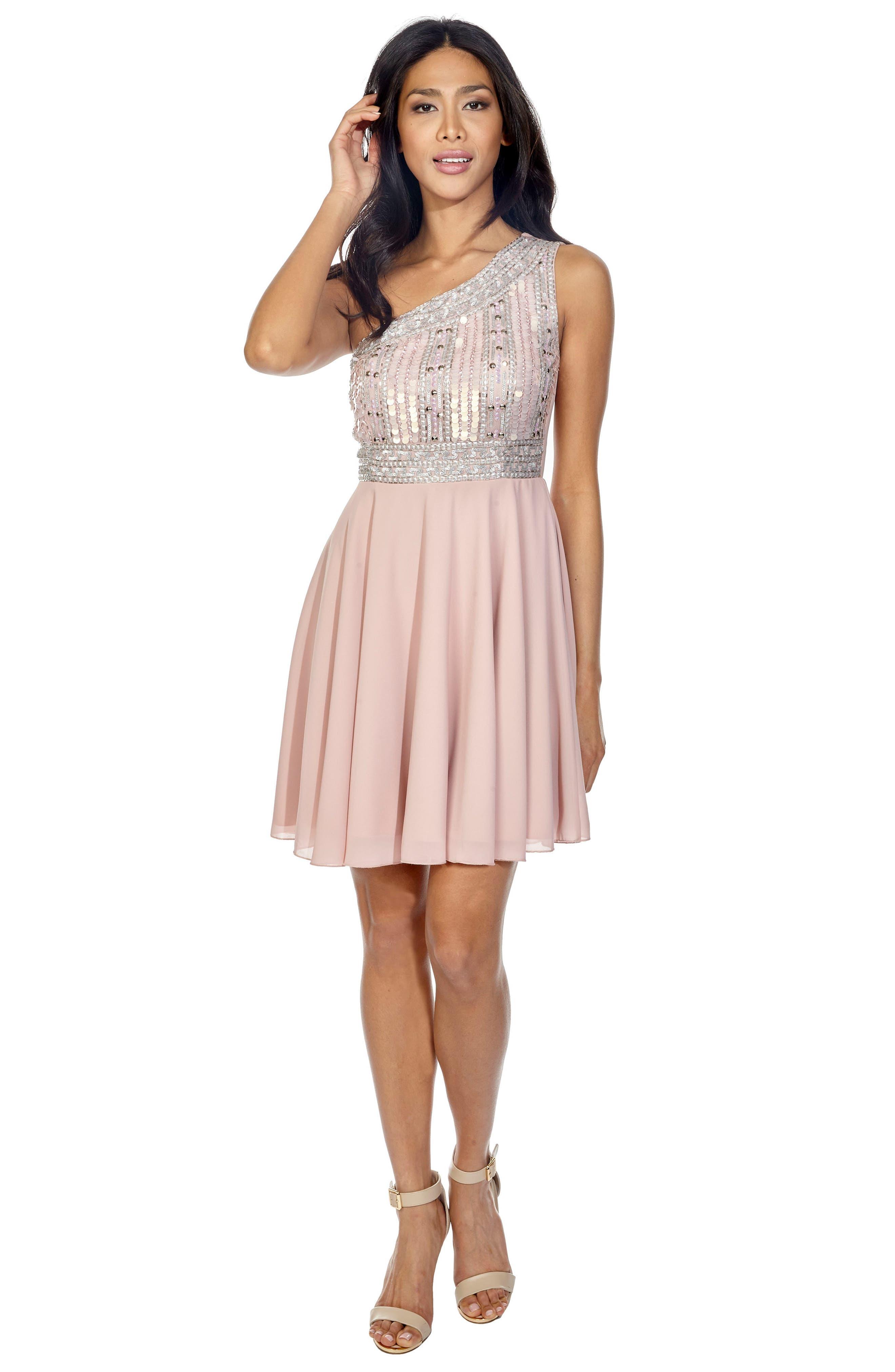 Althea Embellished One-Shoulder Dress,                             Alternate thumbnail 6, color,                             PINK