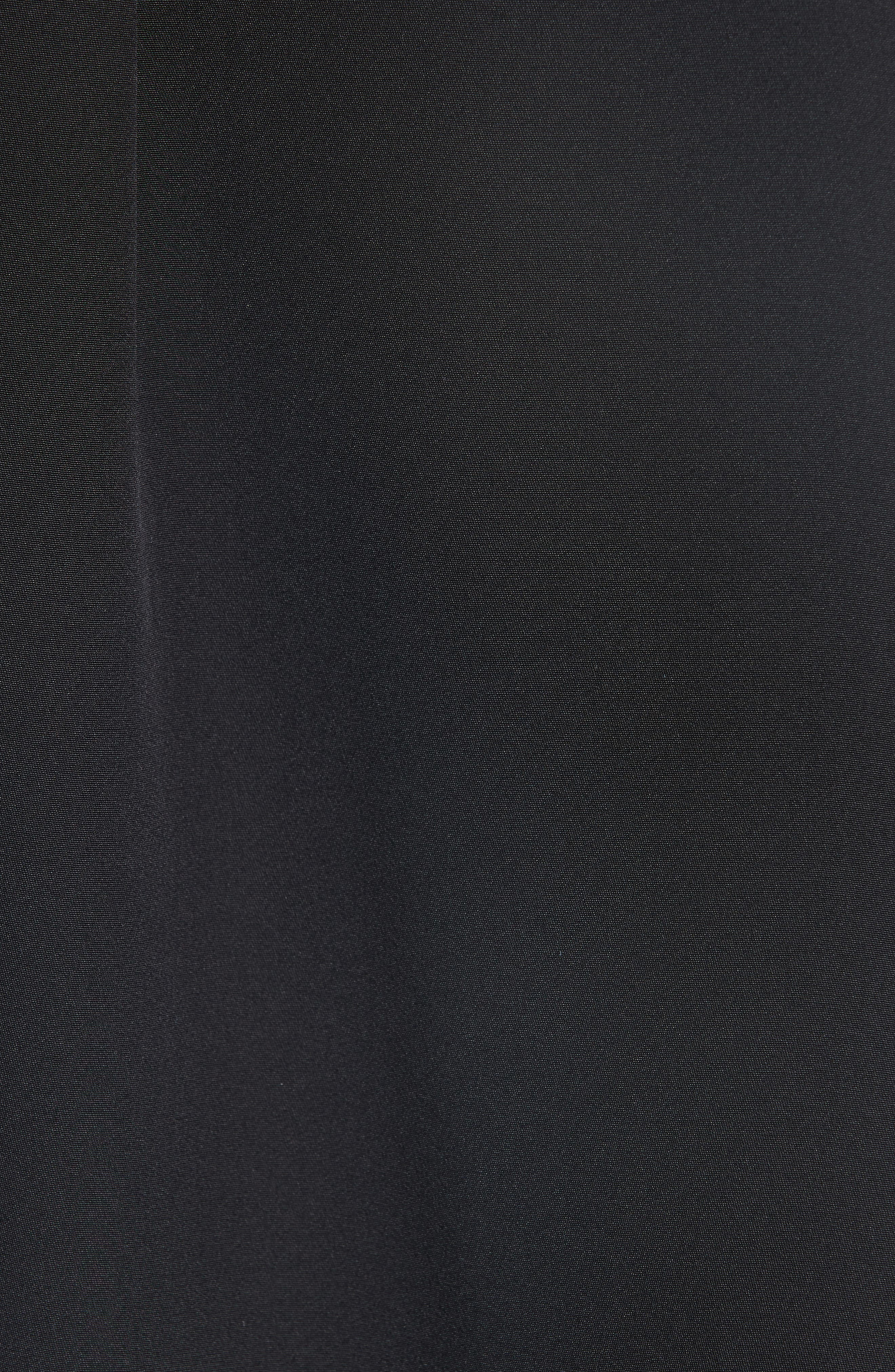 Satin Tie Neck Silk Blouse,                             Alternate thumbnail 6, color,                             BLACK