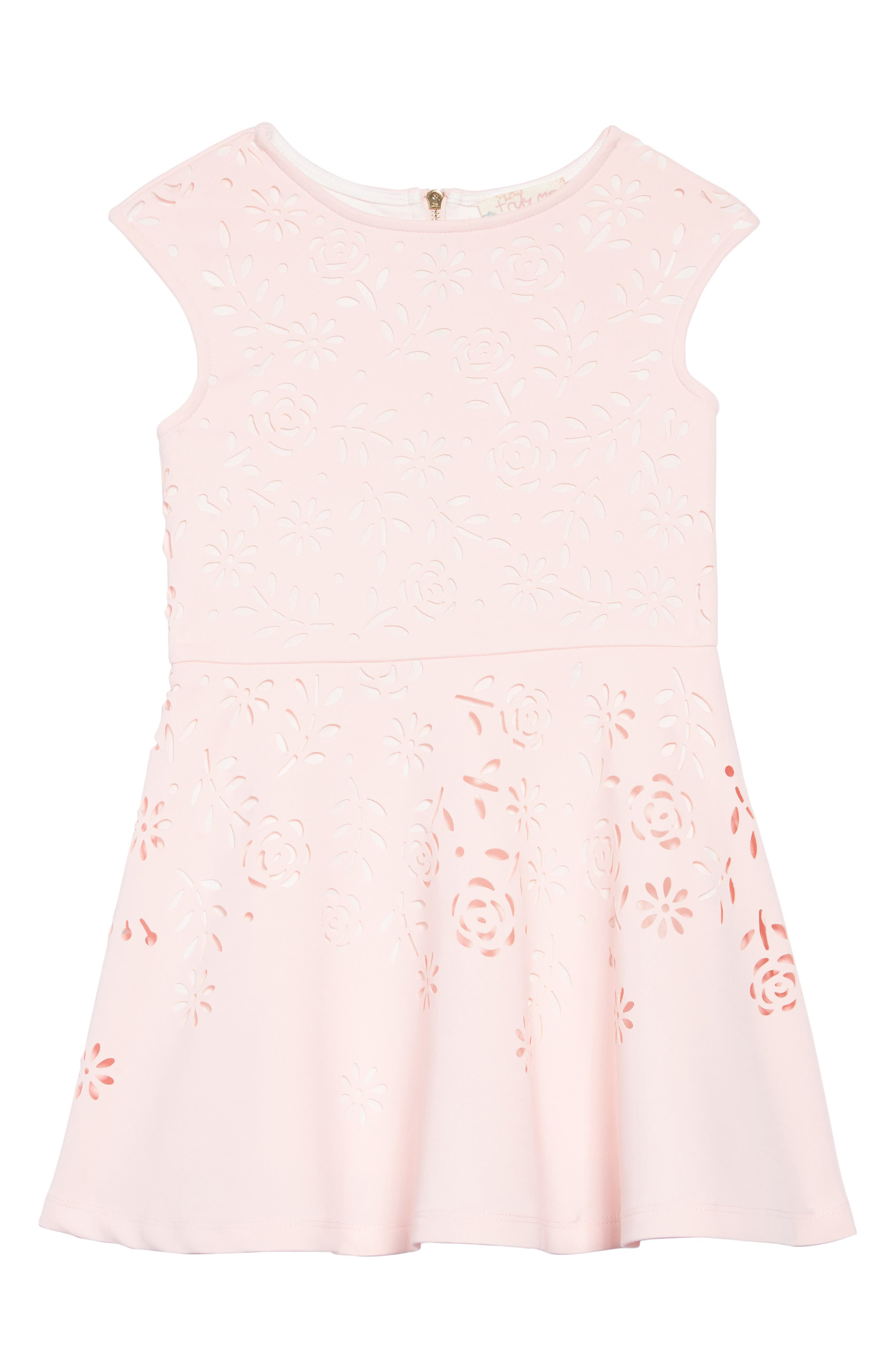 TRULY ME,                             Laser Cut Floral Fit & Flare Dress,                             Main thumbnail 1, color,                             PINK-WHITE