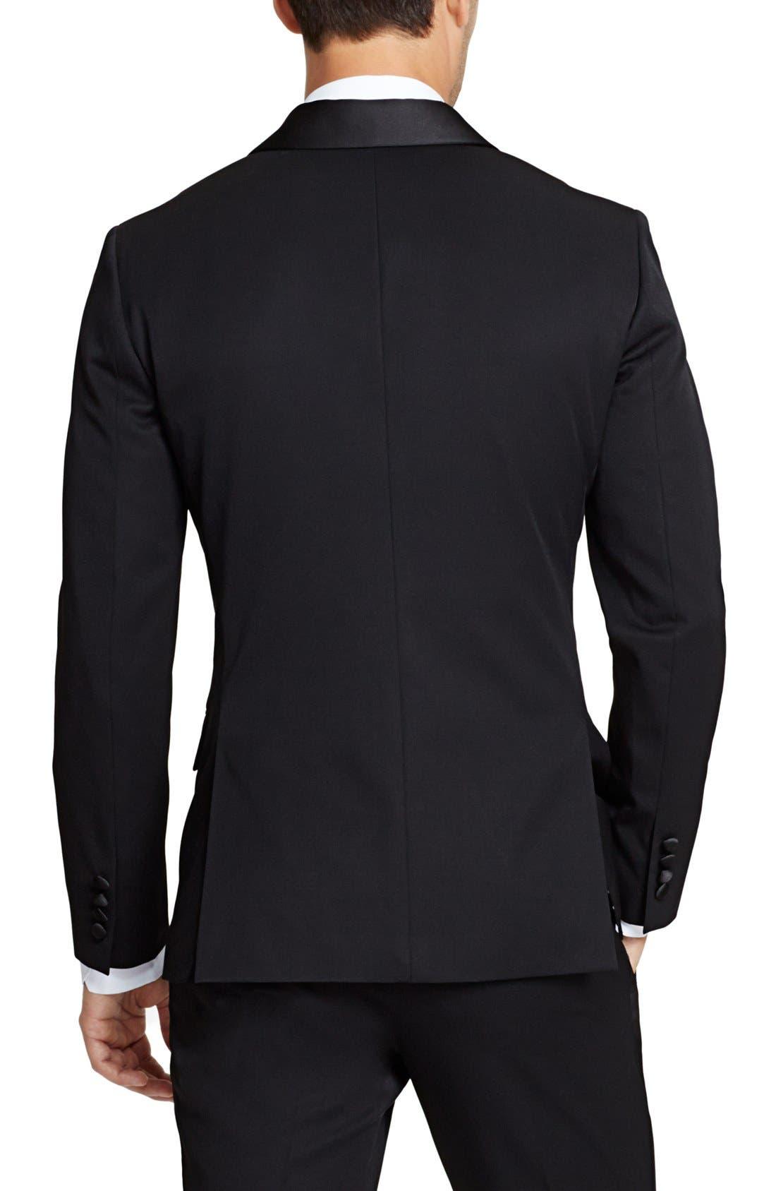 BONOBOS,                             Trim Fit Wool Dinner Jacket,                             Alternate thumbnail 4, color,                             BLACK