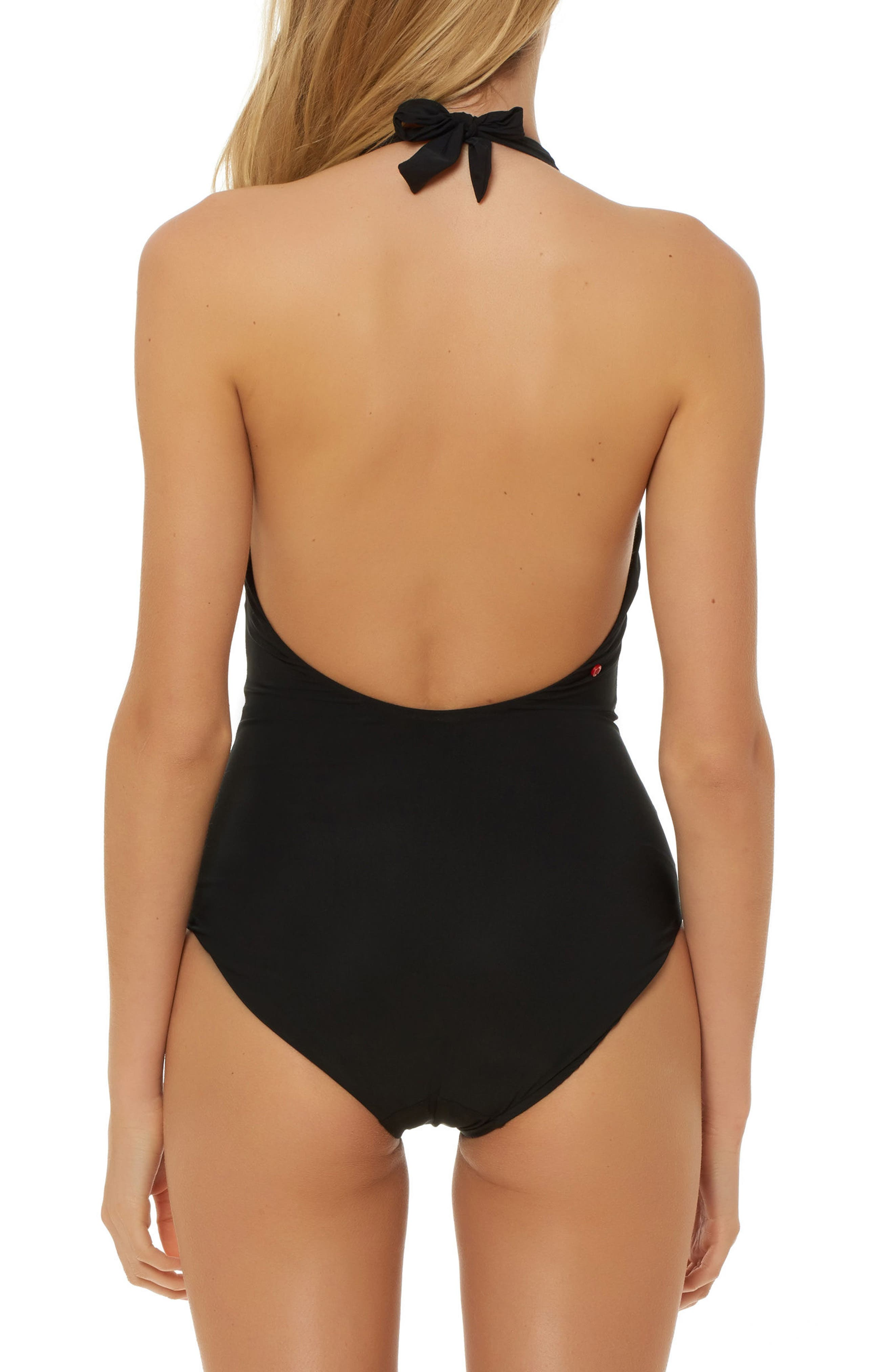 Deep-V Halter One-Piece Swimsuit,                             Alternate thumbnail 2, color,                             001