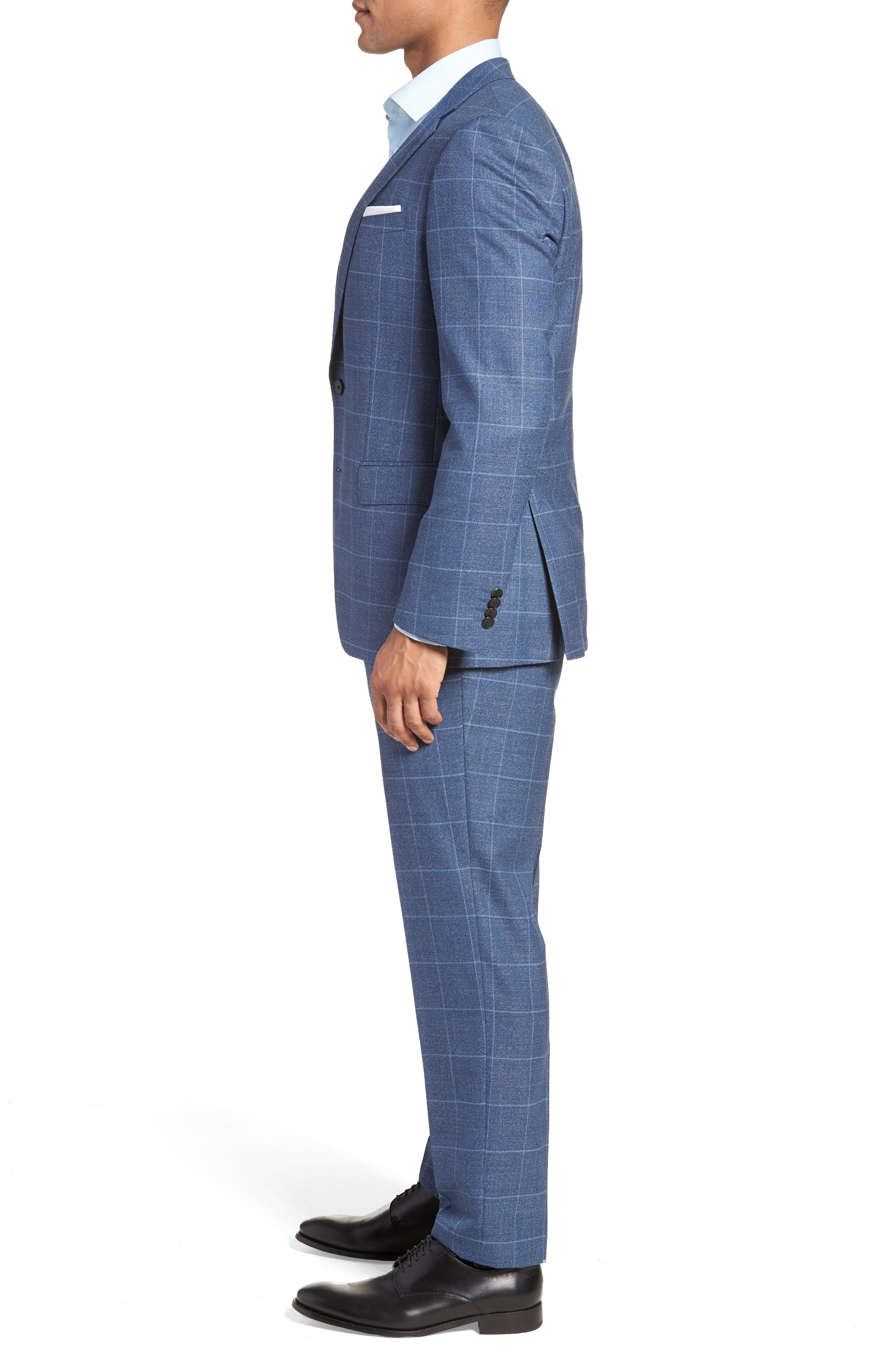 Huge/Genius Trim Fit Windowpane Wool Suit,                             Alternate thumbnail 3, color,                             400
