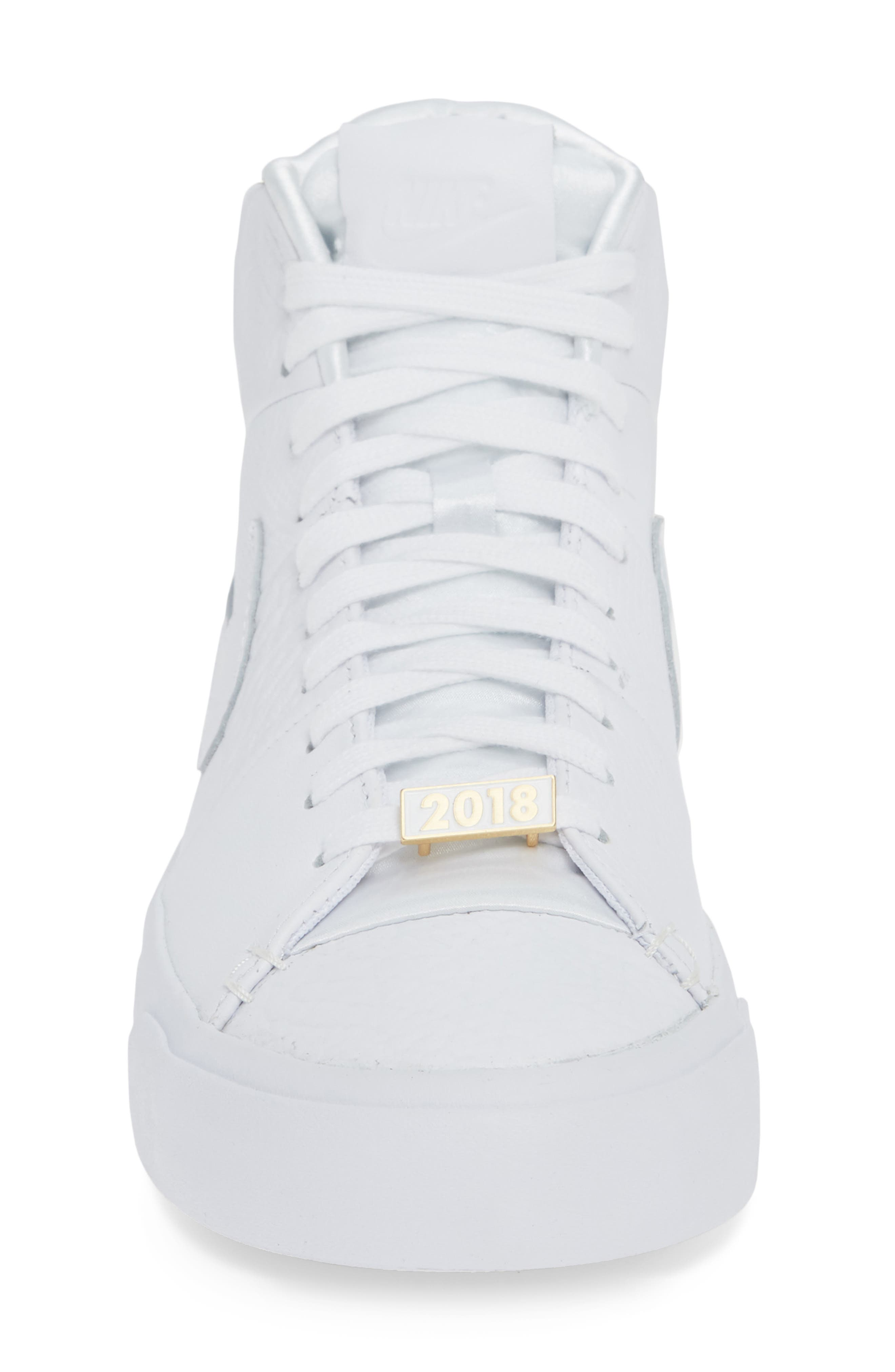 Blazer Royal QS High Top Sneaker,                             Alternate thumbnail 4, color,                             WHITE/ WHITE/ WHITE