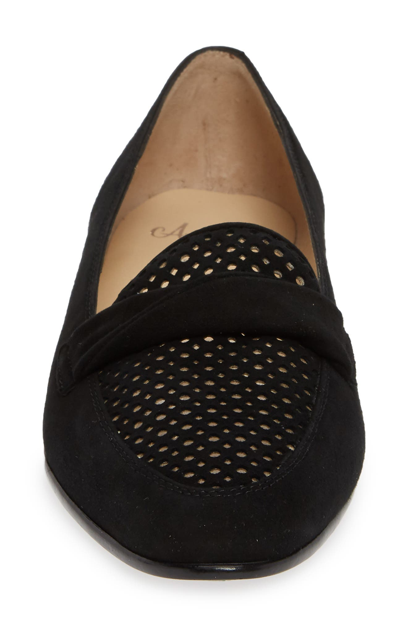 AMALFI BY RANGONI,                             Osimo X Perforated Loafer,                             Alternate thumbnail 4, color,                             BLACK SUEDE